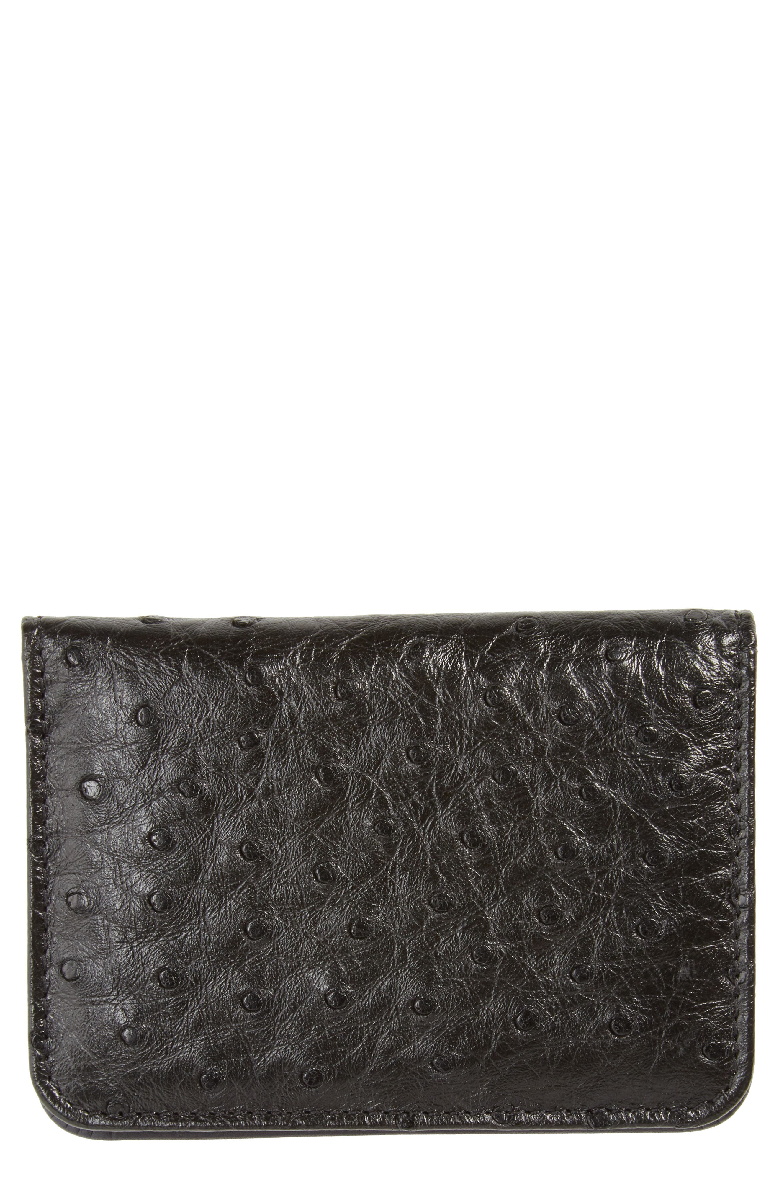 Ostrich Leather Card Case,                             Main thumbnail 1, color,                             BLACK