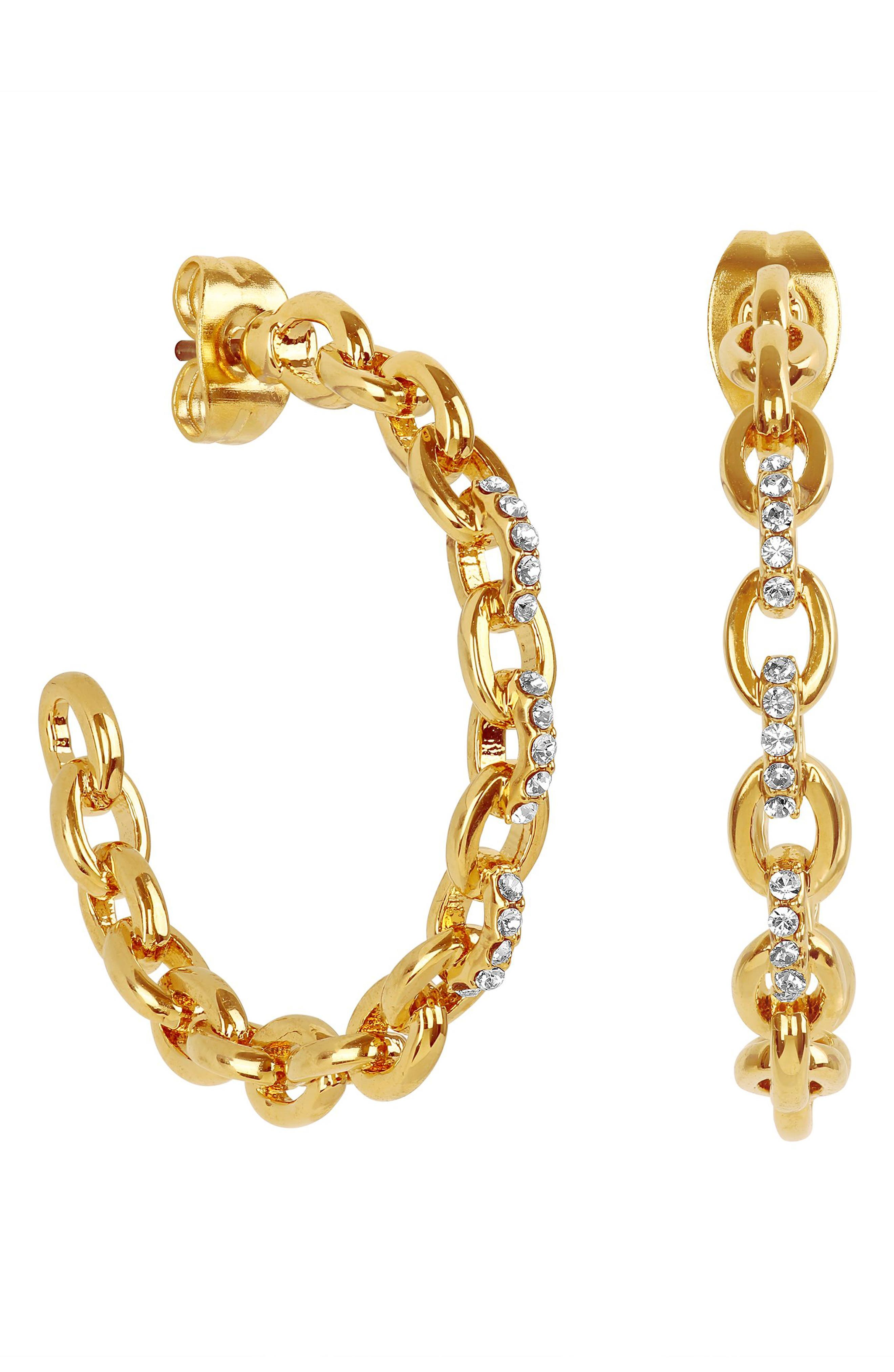 ADORE Pave Cable Link Hoop Earrings in Gold