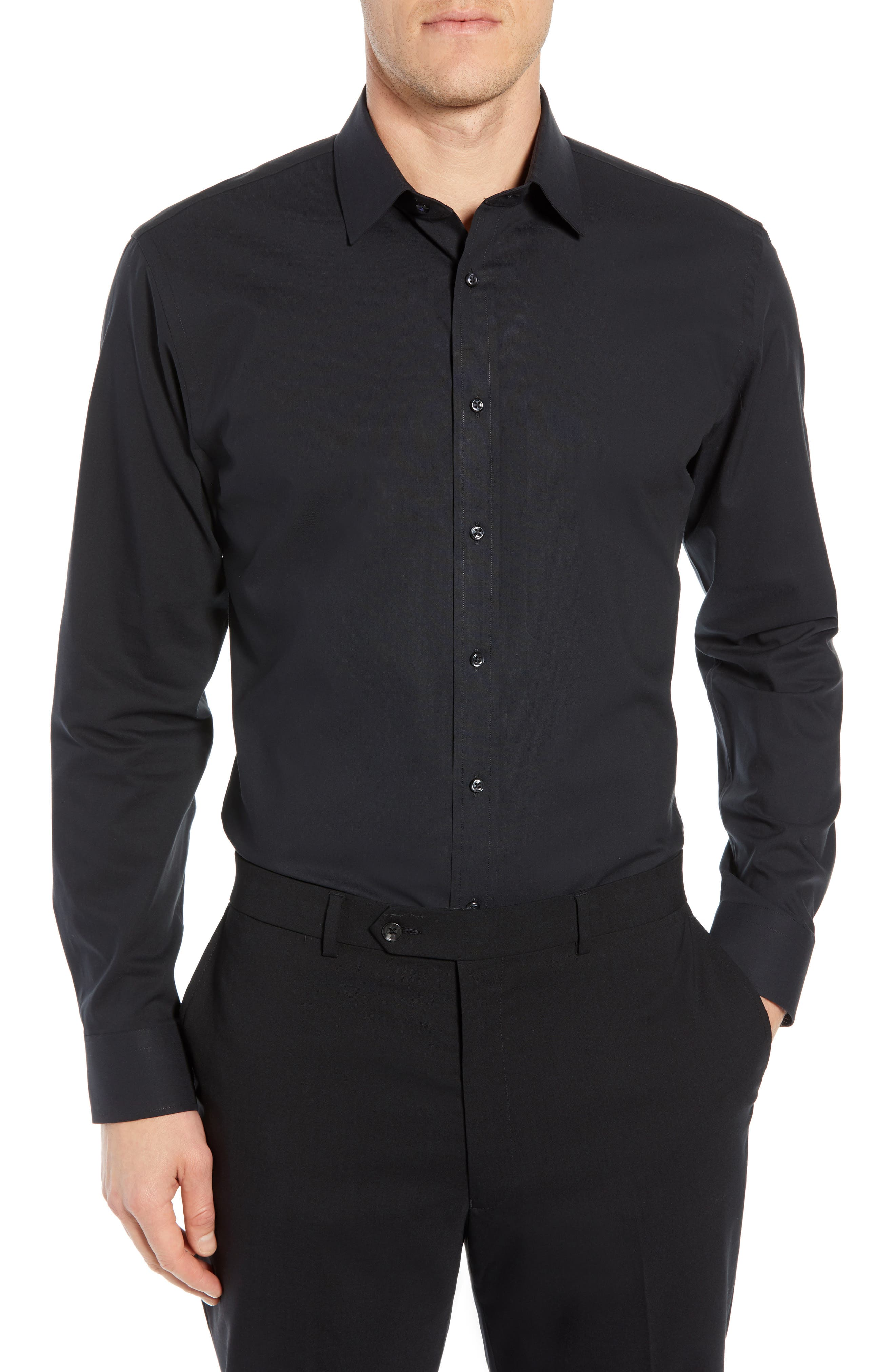 Tech-Smart Trim Fit Stretch Pinpoint Dress Shirt,                             Main thumbnail 1, color,                             BLACK ROCK
