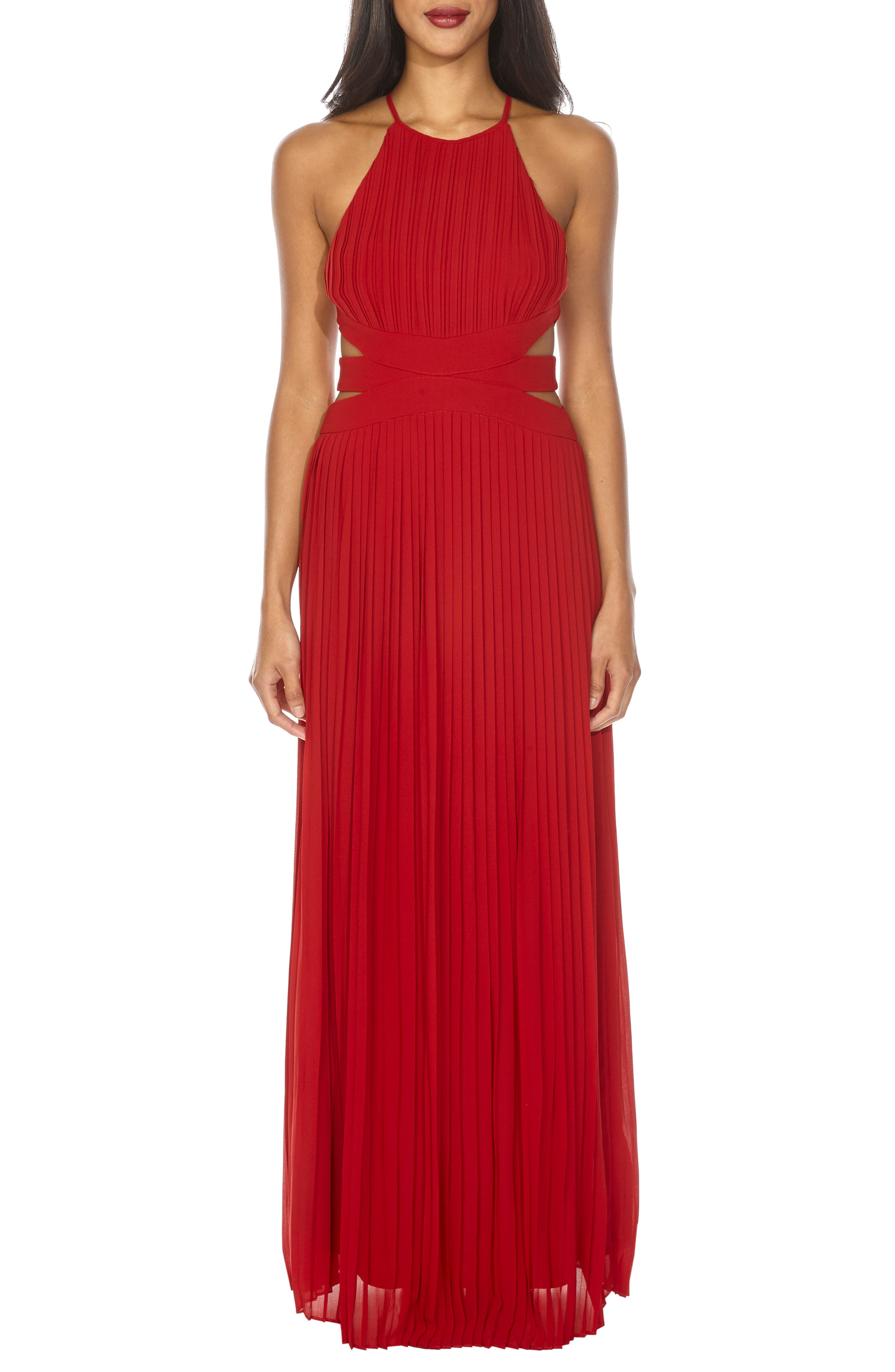 Boston Cutout Maxi Dress,                         Main,                         color, RUBY RED