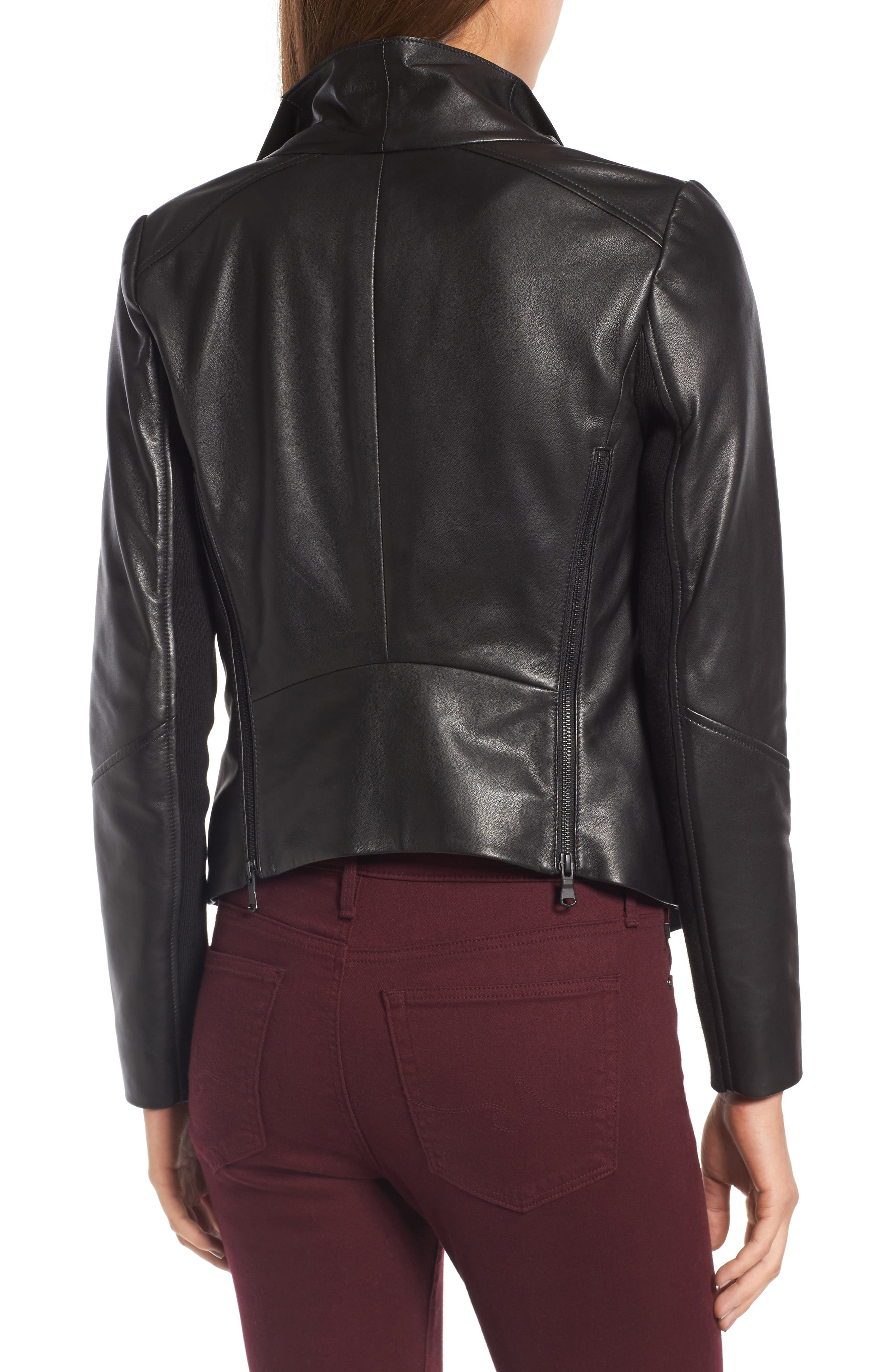 Raw Edge Leather Jacket,                             Alternate thumbnail 2, color,                             001