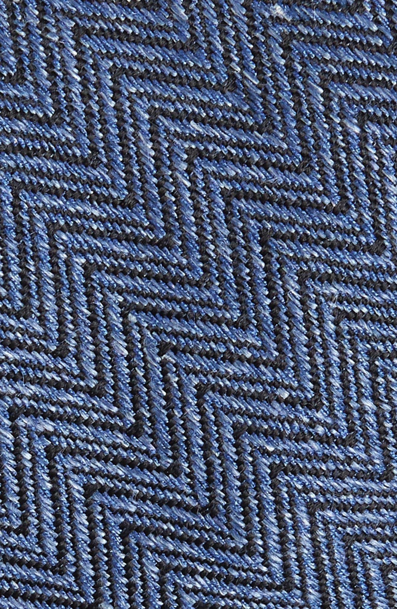 Chevron Silk & Linen Tie,                             Alternate thumbnail 2, color,                             BLUE