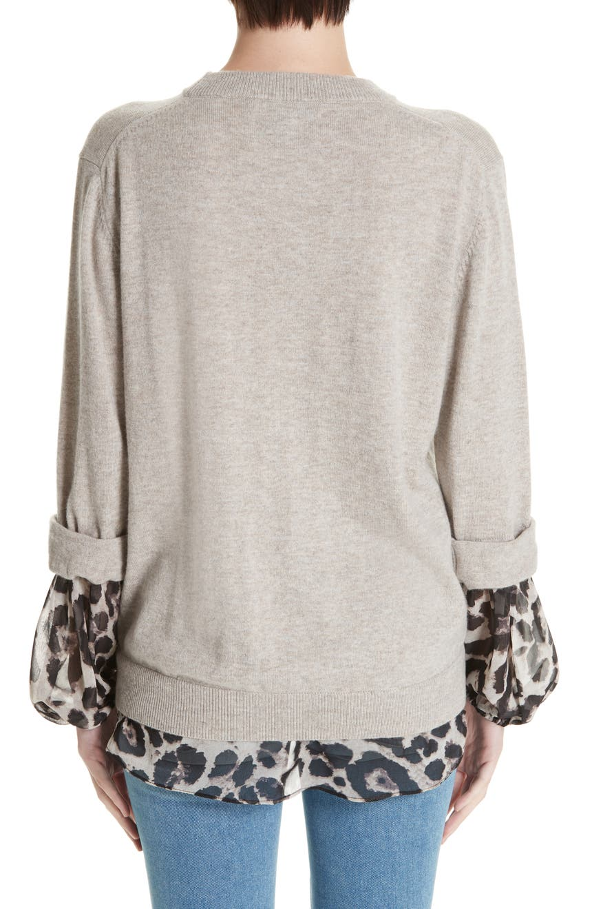 90854b3f109 Brochu Walker Layered Animal Print Wool   Cashmere Sweater