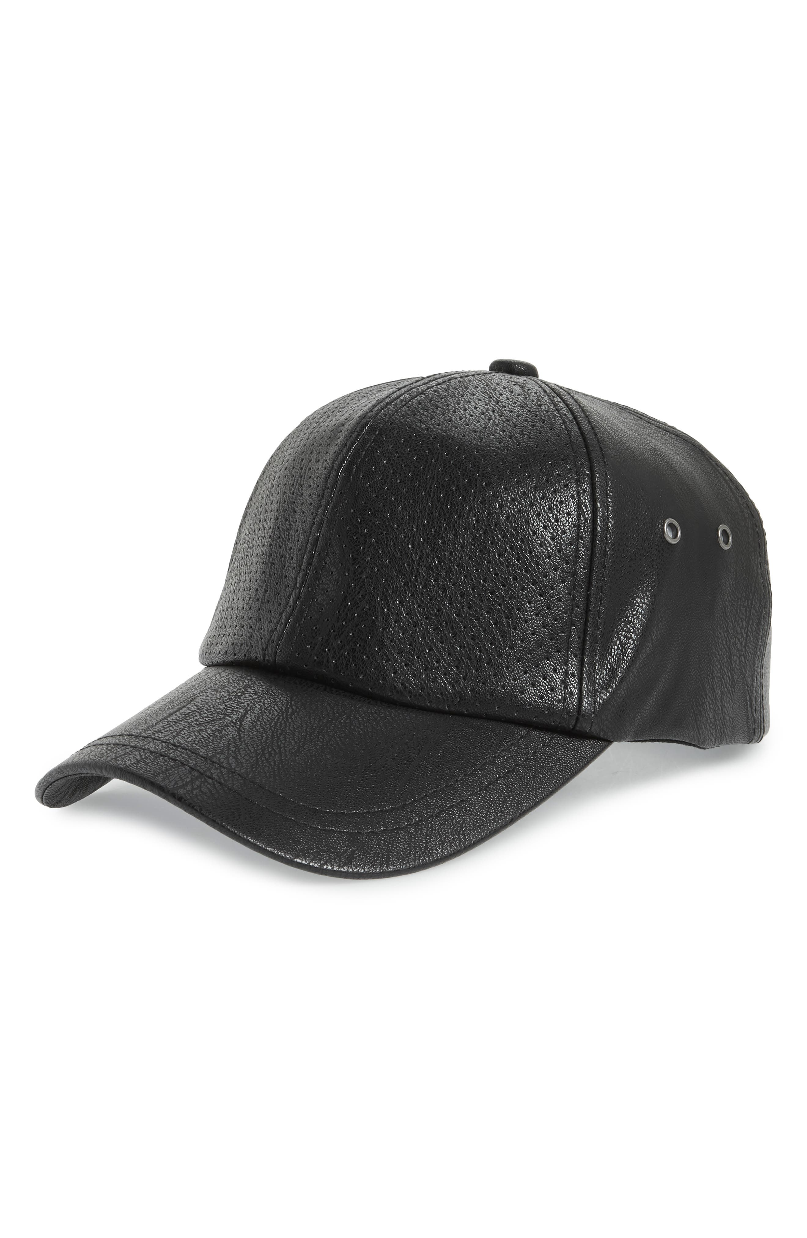 SWEAT ACTIVE,                             Faux Leather Baseball Cap,                             Main thumbnail 1, color,                             001