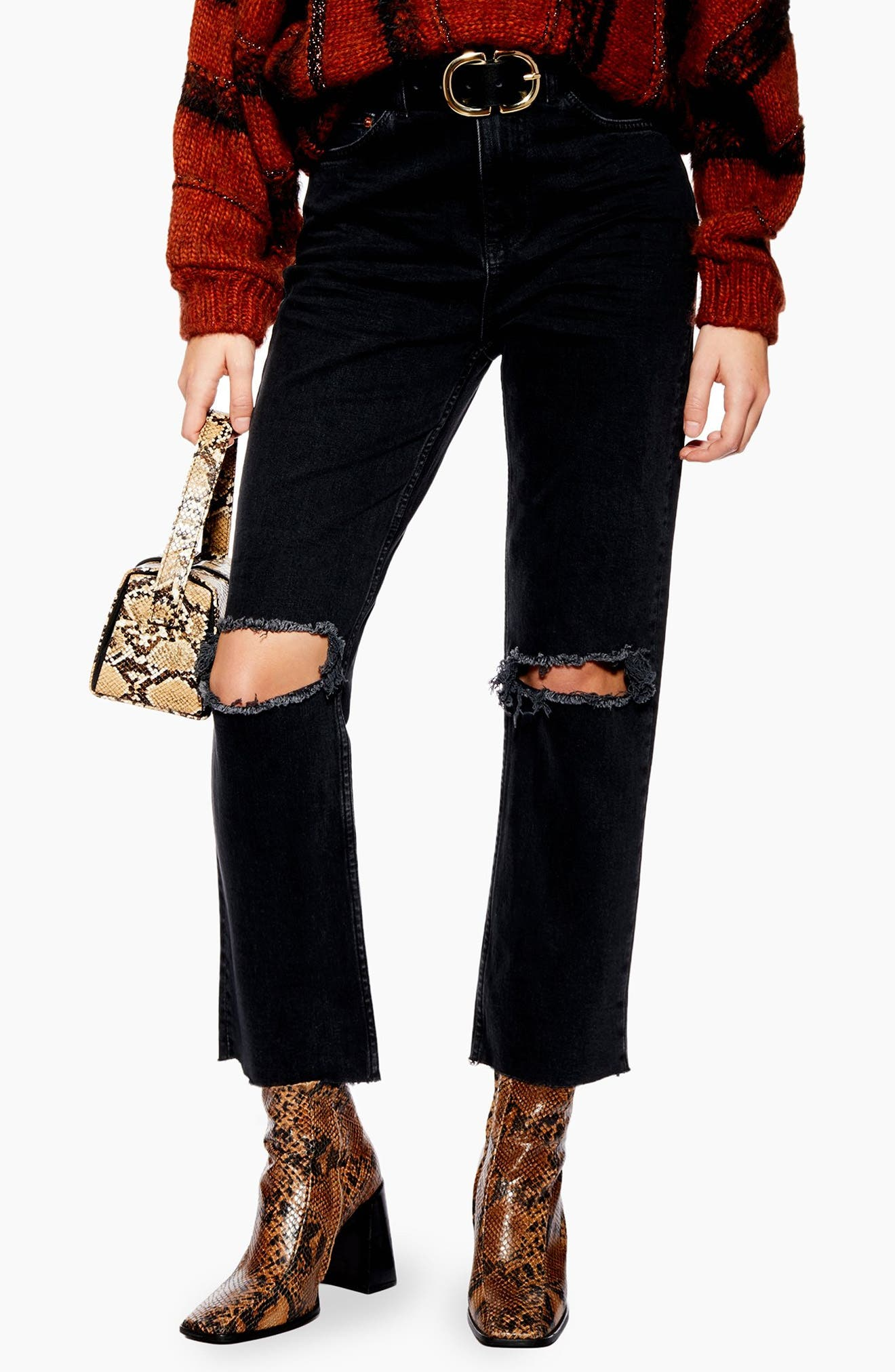 TOPSHOP Ripped Straight Leg Jeans, Main, color, WASHED BLACK