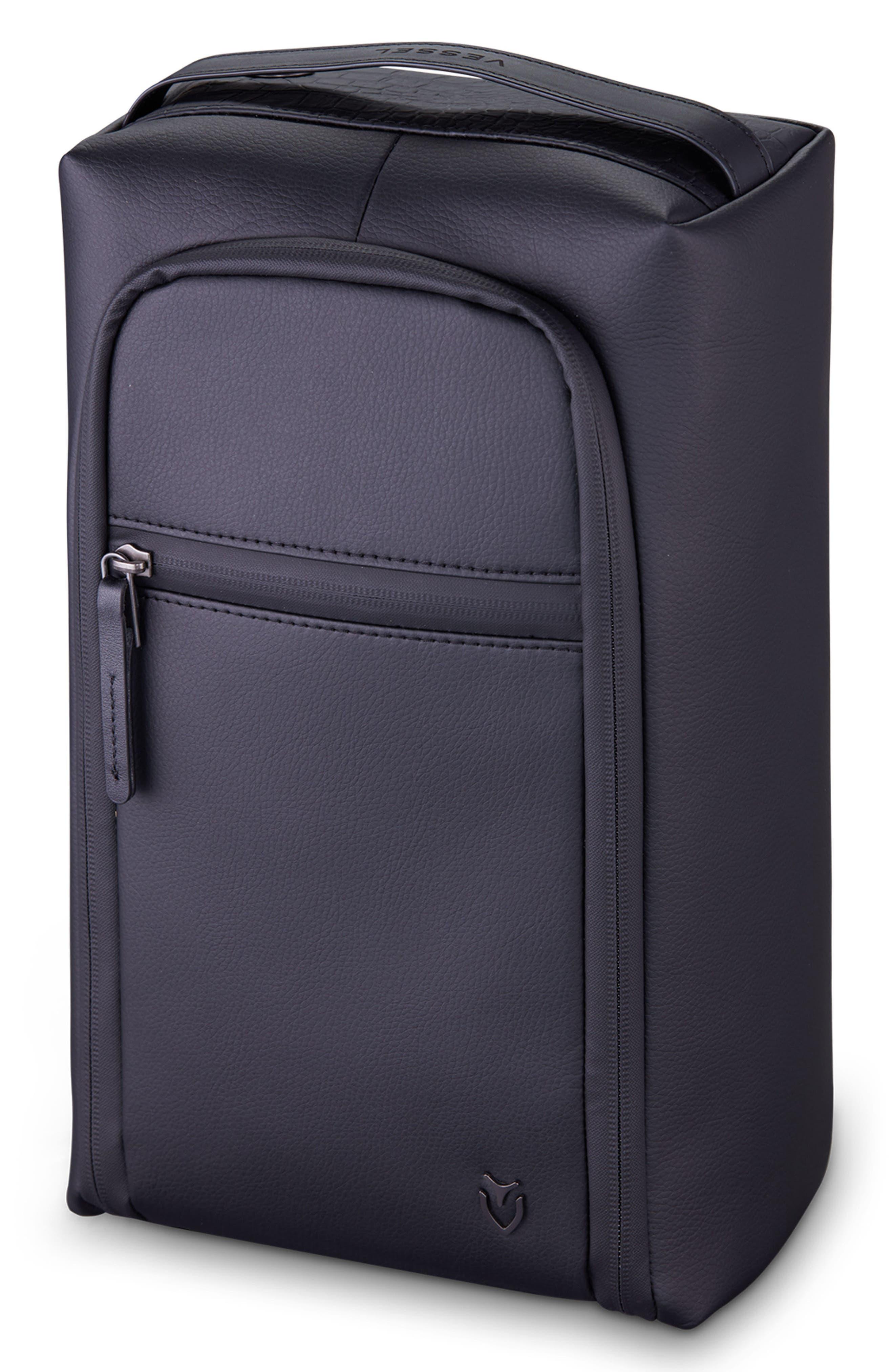 Signature 2.0 Faux Leather Shoe Bag,                             Main thumbnail 1, color,                             PEBBLED/ CROC BLACK