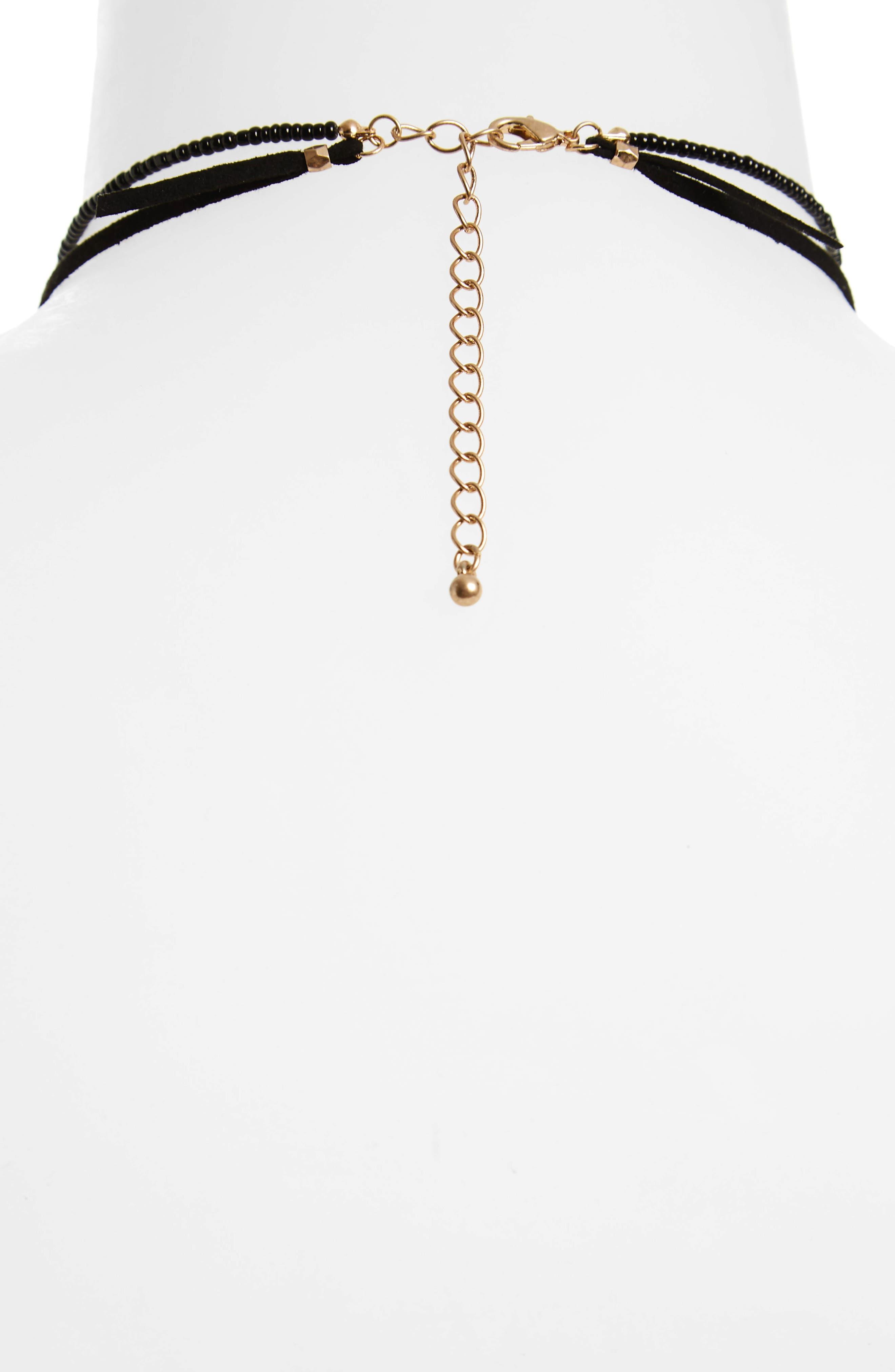 Leather Tie Choker Necklace,                             Alternate thumbnail 2, color,                             021