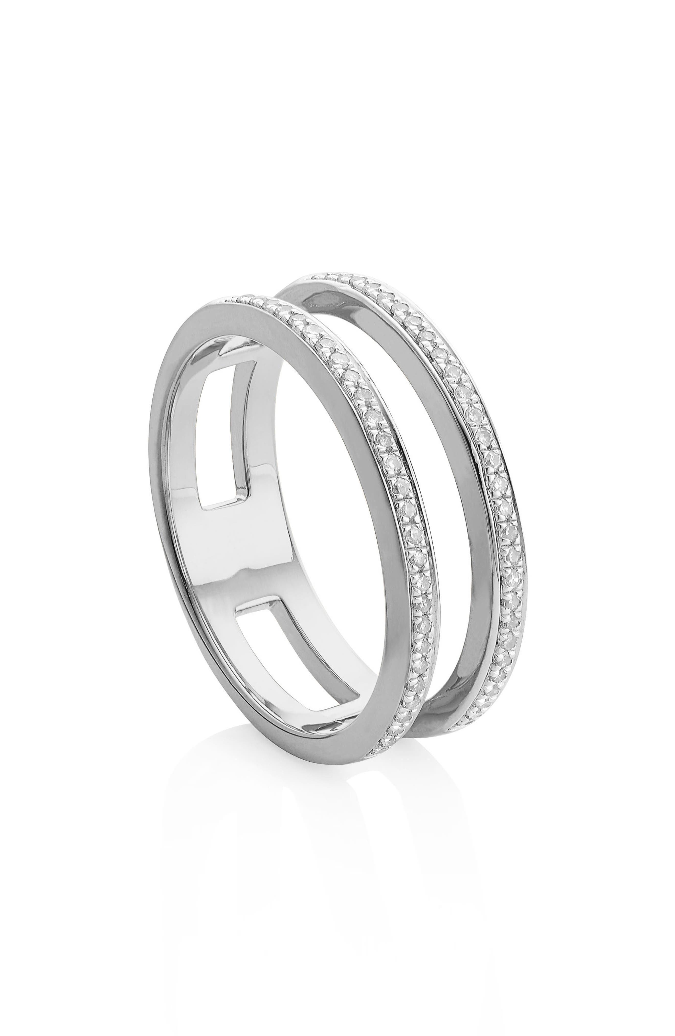 Skinny Double Band Diamond Ring,                             Alternate thumbnail 2, color,                             SILVER