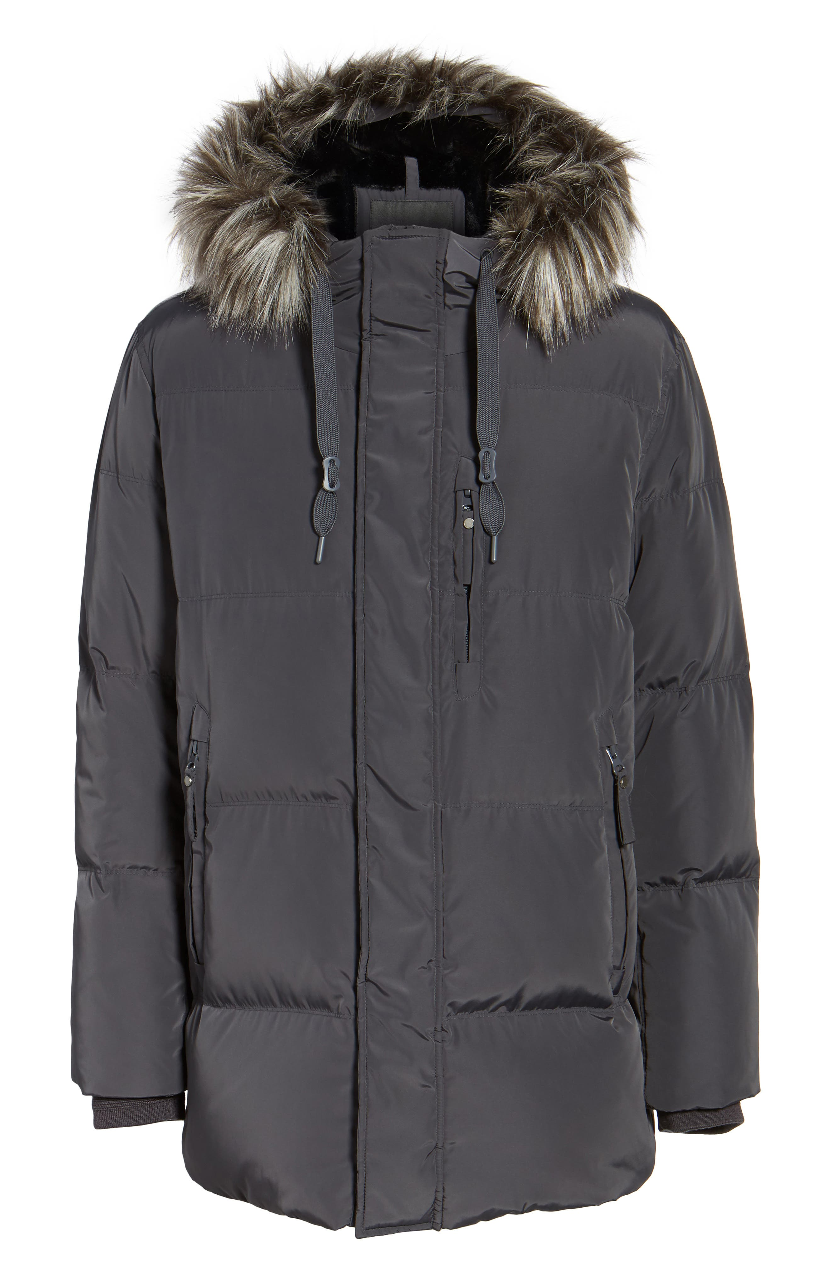 Quilted Down Parka with Faux Fur Trim,                             Alternate thumbnail 5, color,                             070