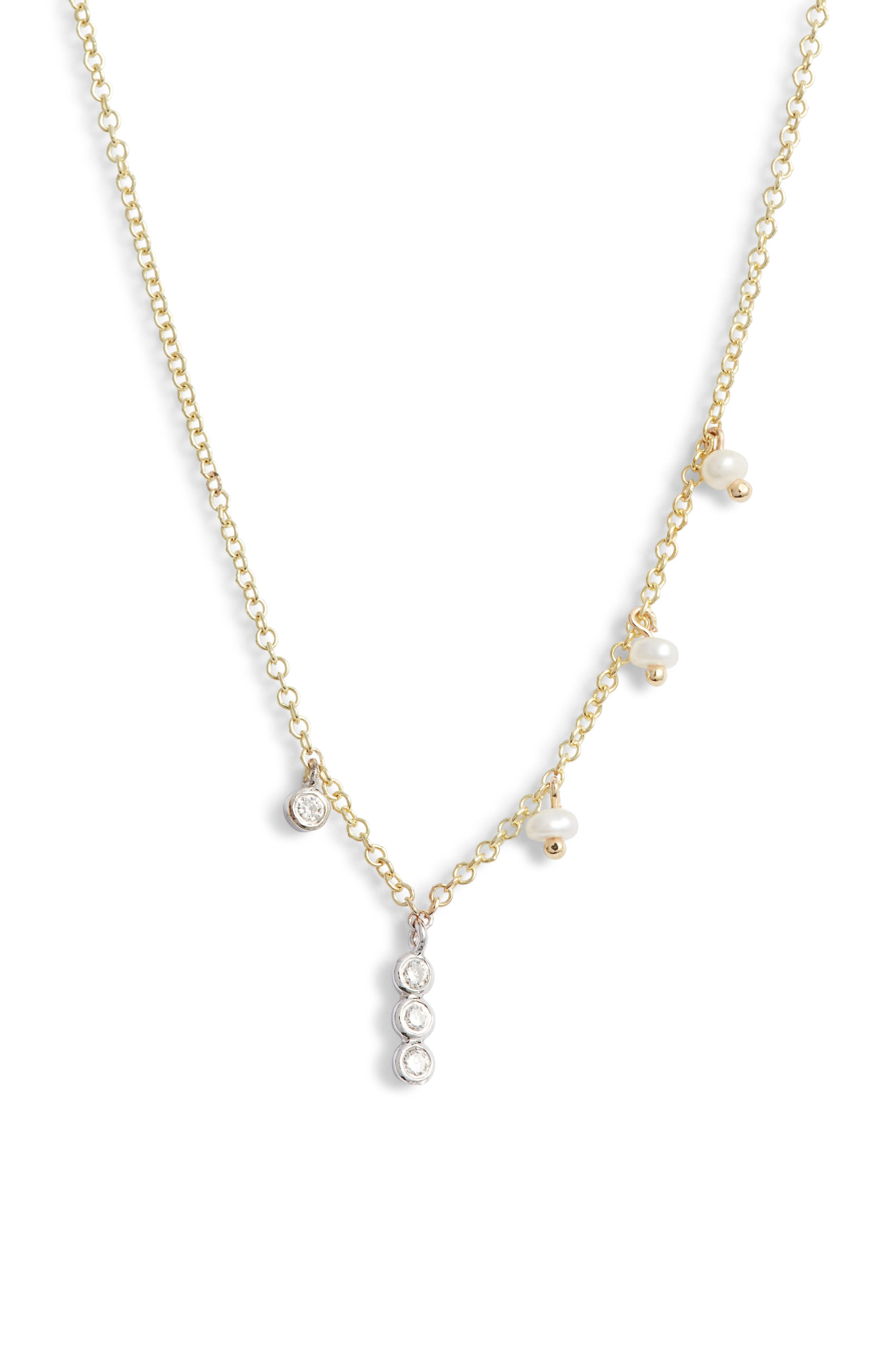 MEIRA T Diamond Pendant & Pearl Necklace in Gold/ Diamond/ Pearl