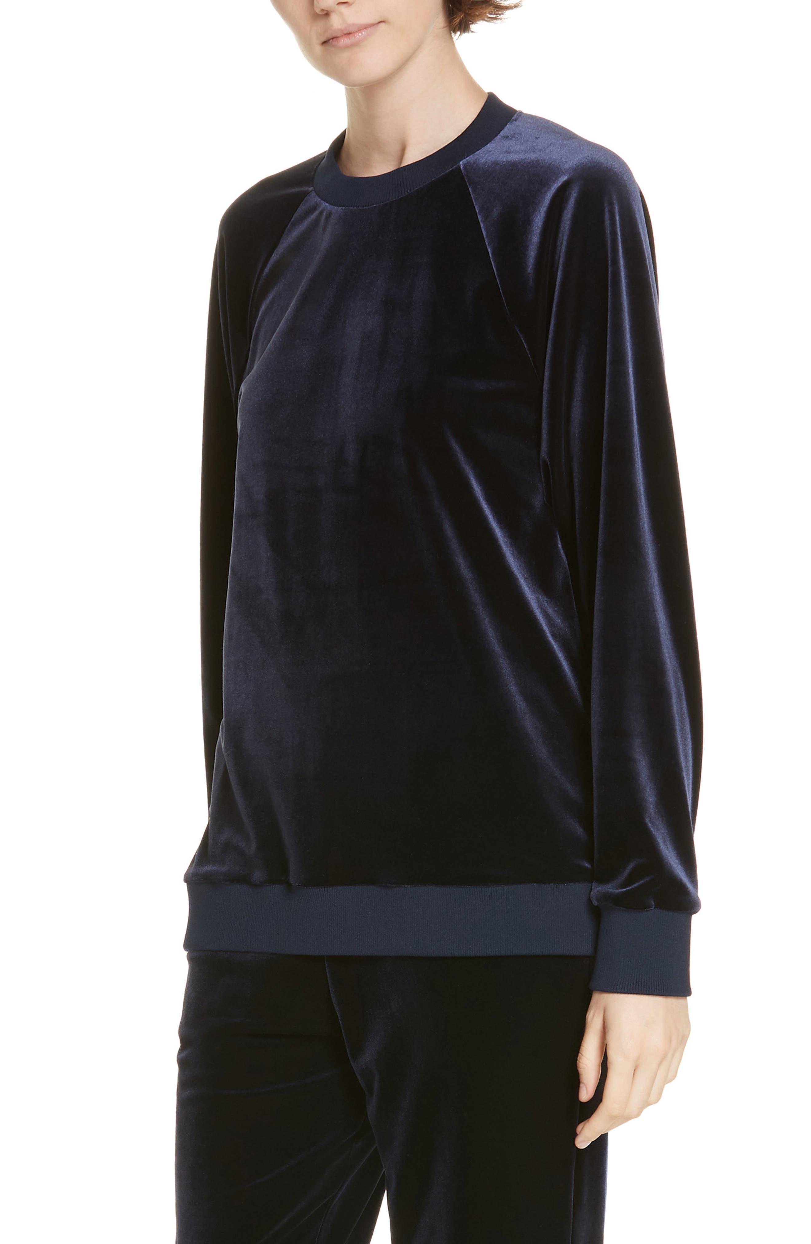 Easy Velvet Sweatshirt, Main, color, NAVY