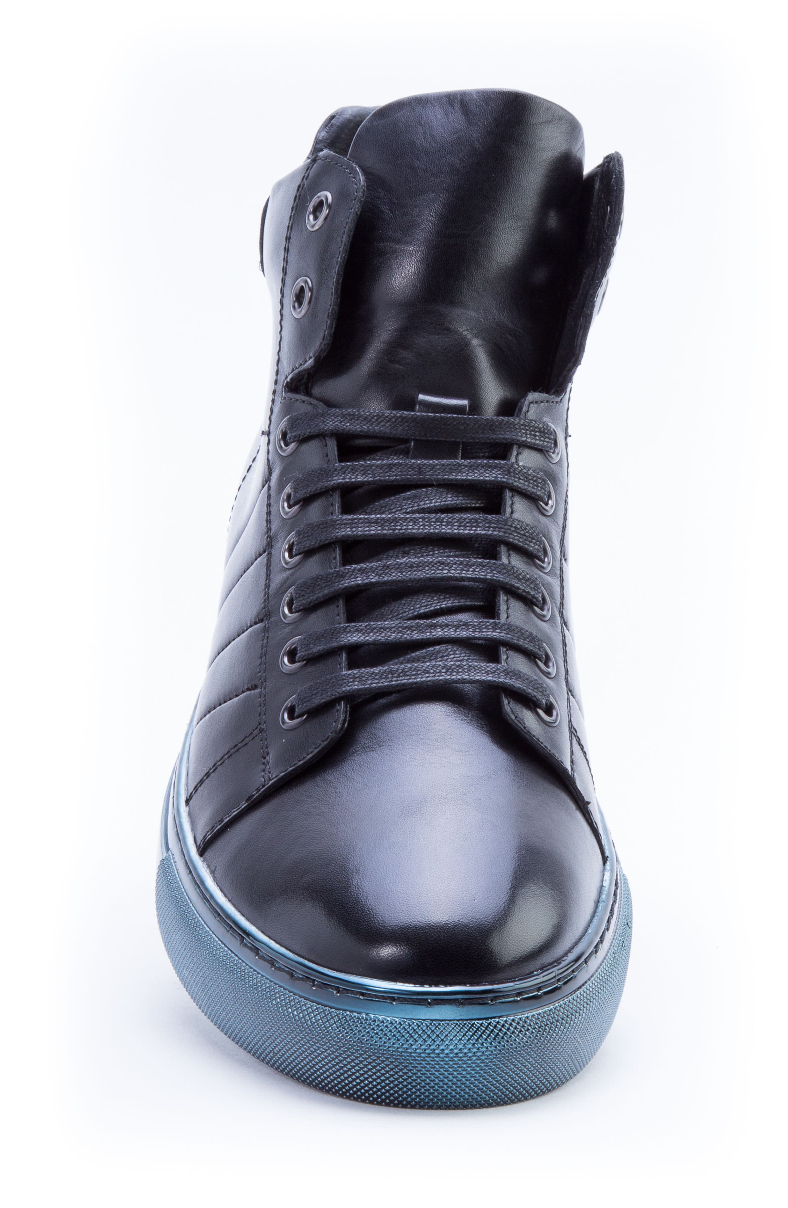 Hunter High Top Sneaker,                             Alternate thumbnail 5, color,                             NAVY LEATHER