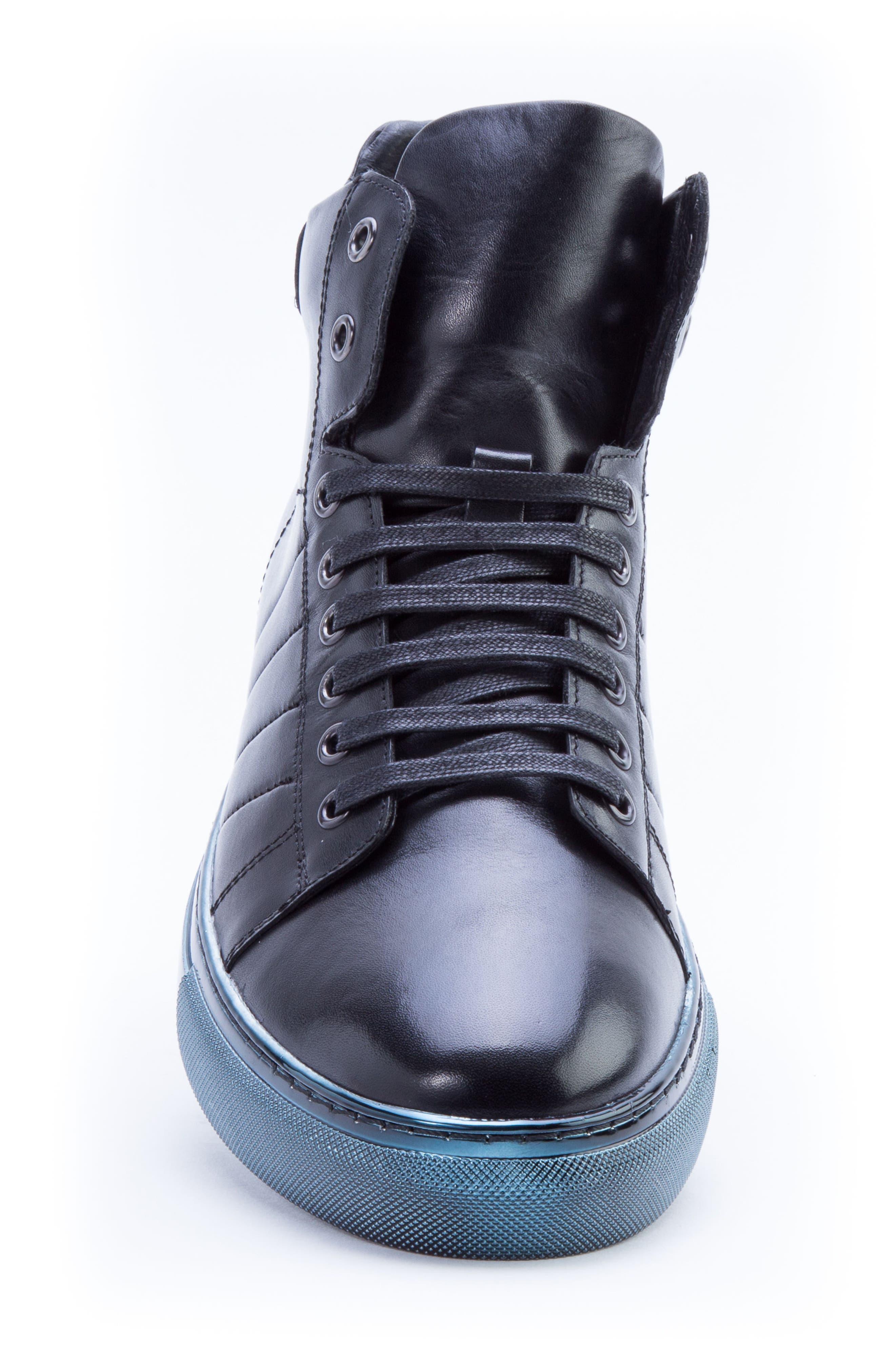 Badgley Mischka Hunter High Top Sneaker,                             Alternate thumbnail 5, color,                             NAVY LEATHER