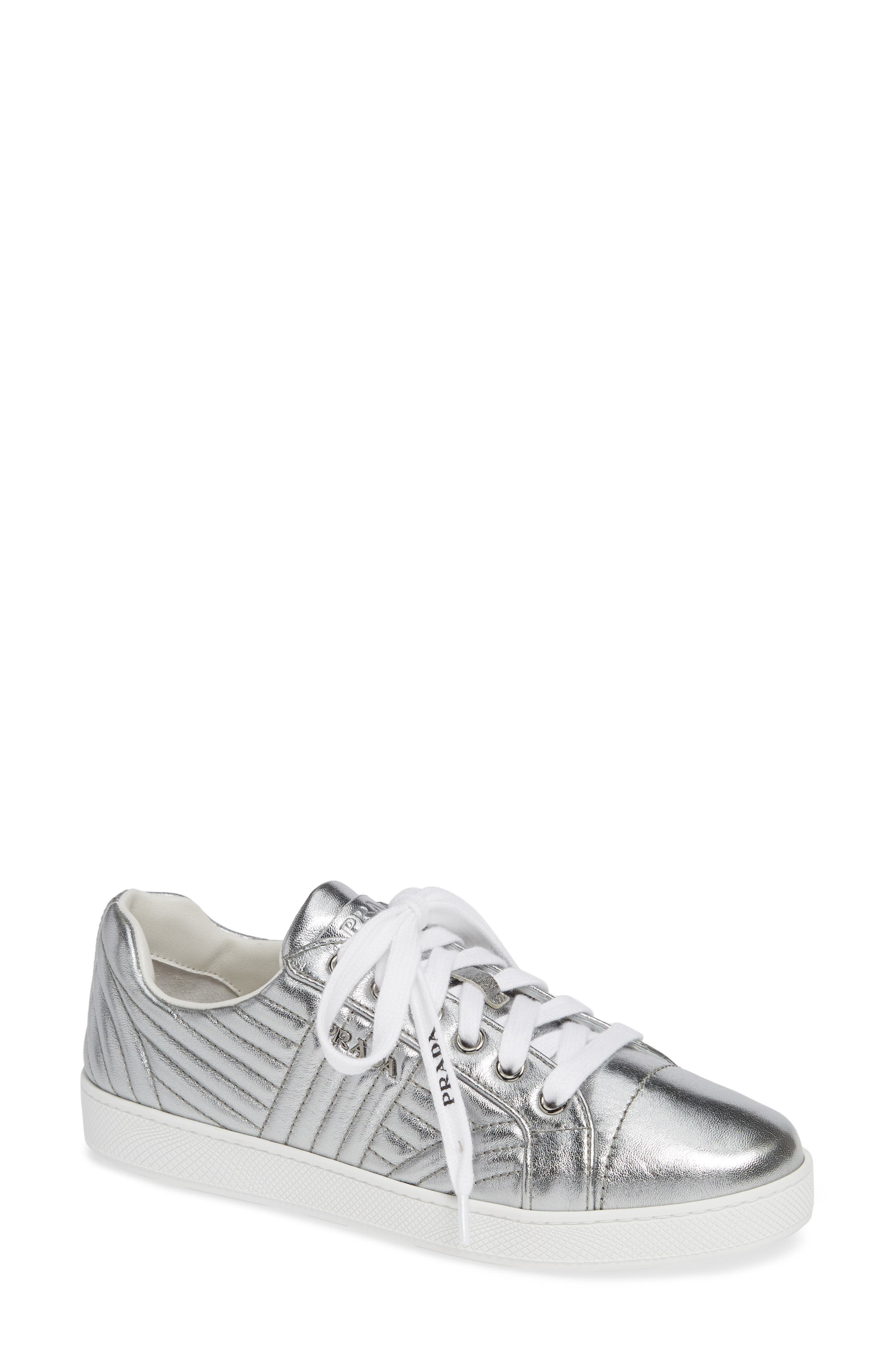 Quilted Leather Sneaker,                         Main,                         color, SILVER