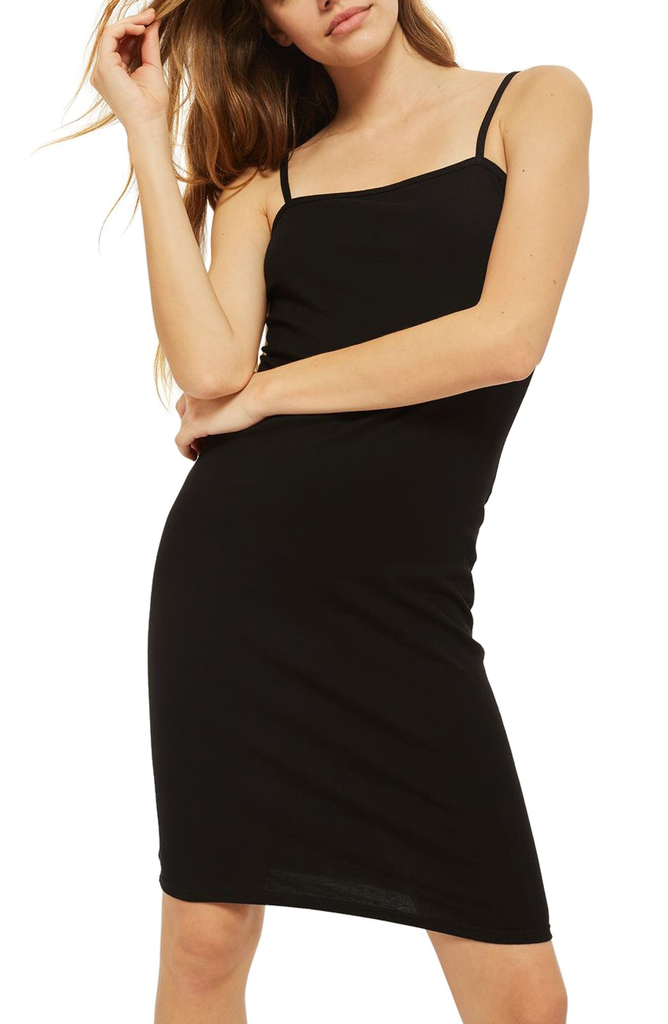Body-Con Midi Dress,                         Main,                         color, BLACK