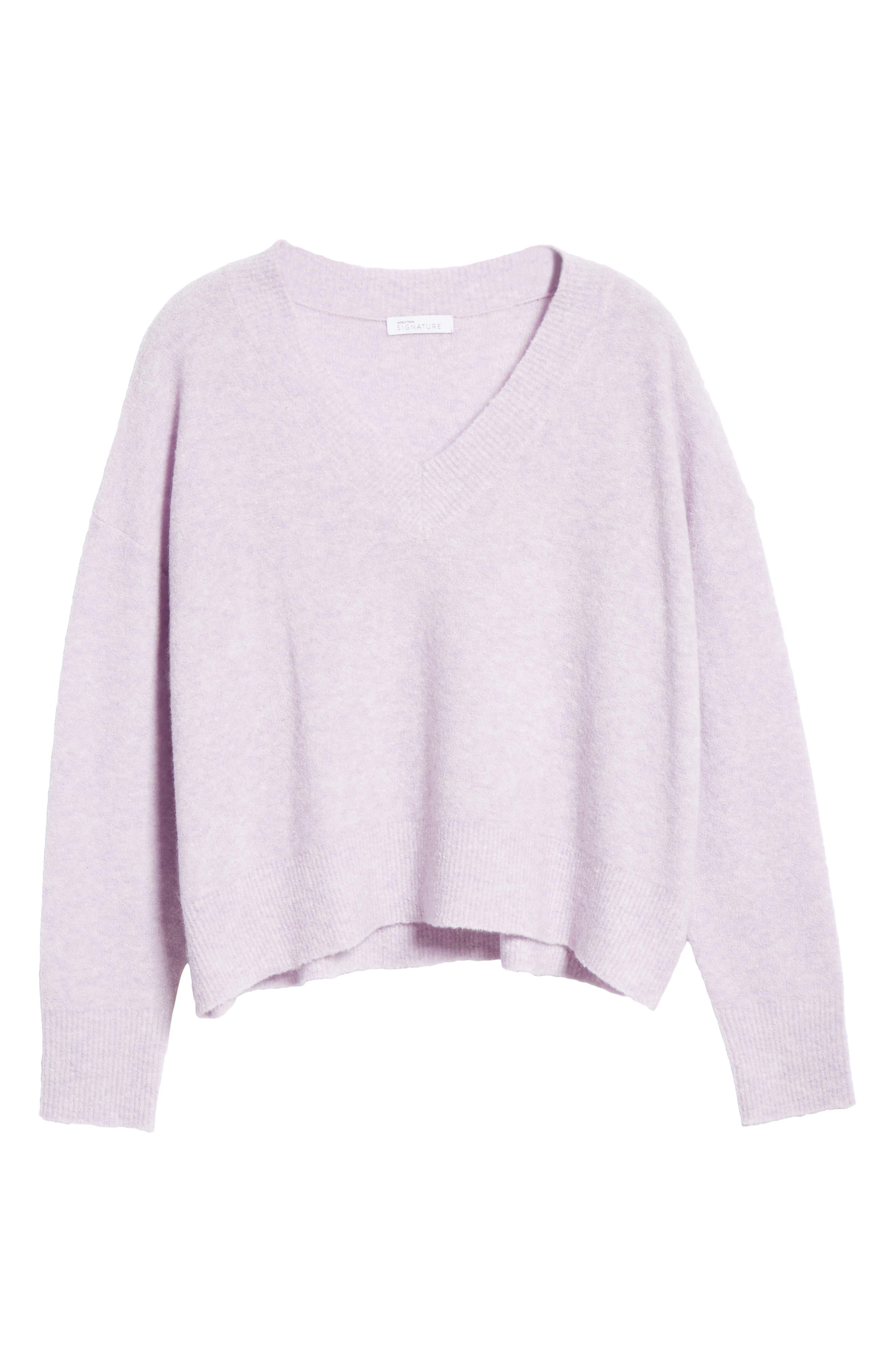Cashmere Blend Bouclé Sweater,                             Alternate thumbnail 6, color,                             PURPLE HEIRLOOM HEATHER