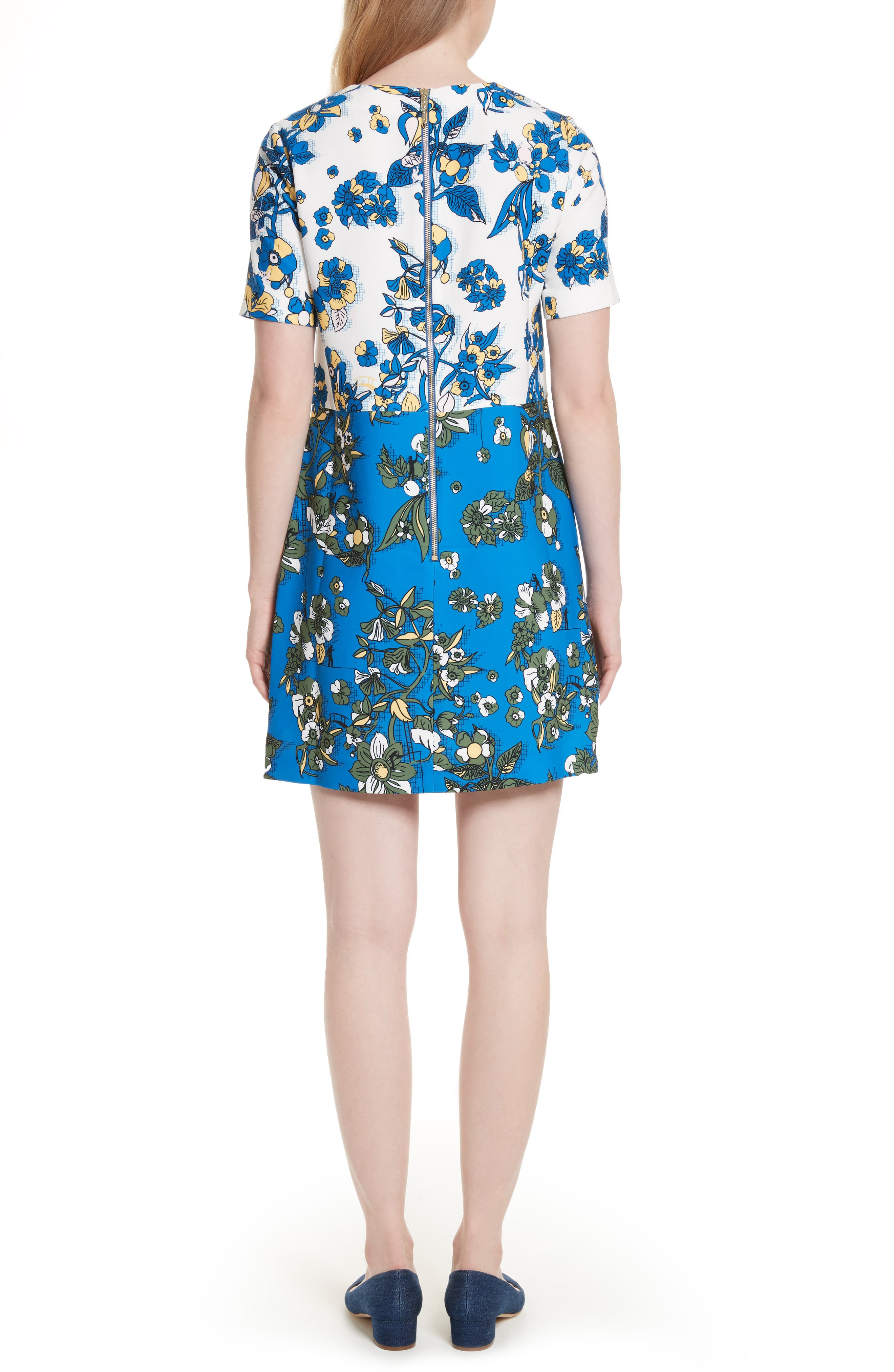Colorblock Floral Shift Dress,                             Alternate thumbnail 2, color,                             402