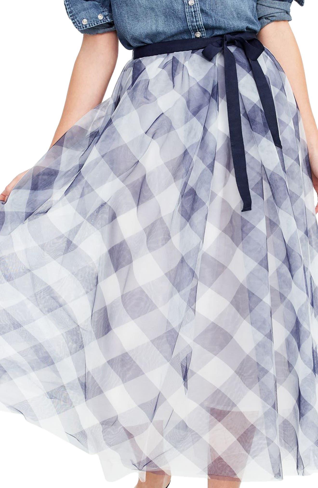 Gingham Tulle Skirt,                             Main thumbnail 1, color,