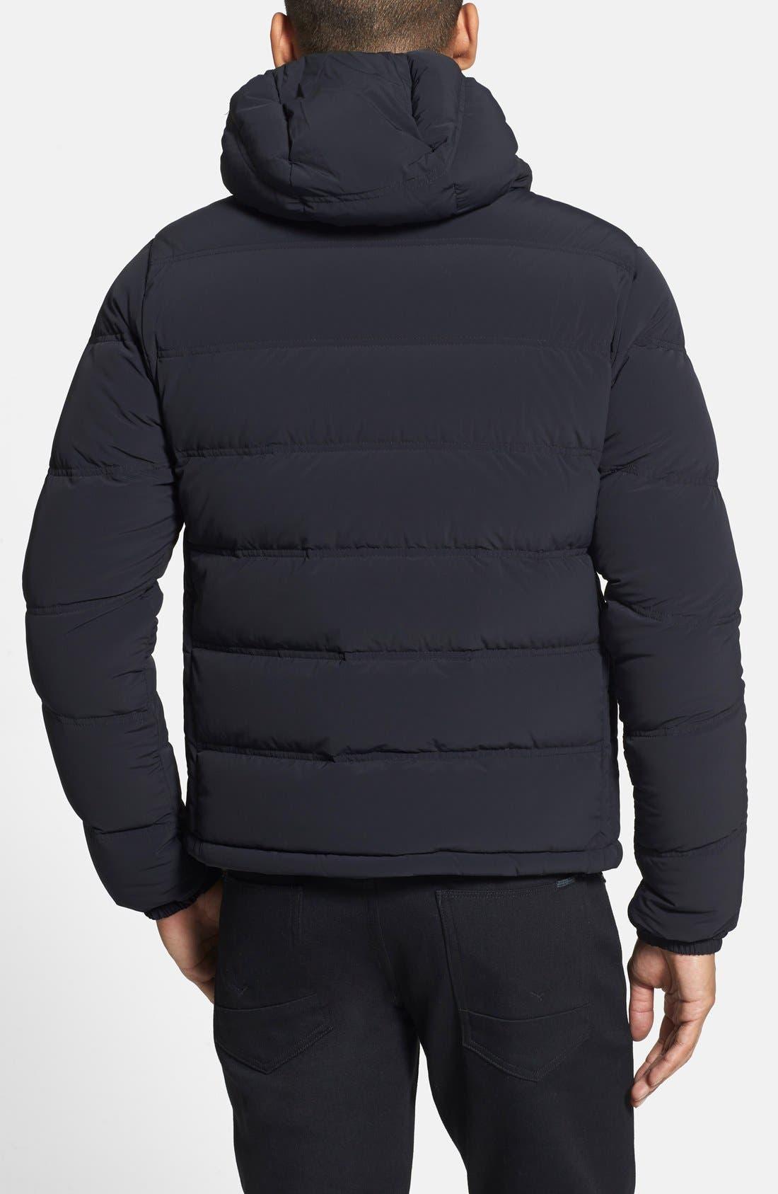 ASPESI,                             'Elastico' Trim Fit Hooded Puffer Jacket,                             Alternate thumbnail 3, color,                             001