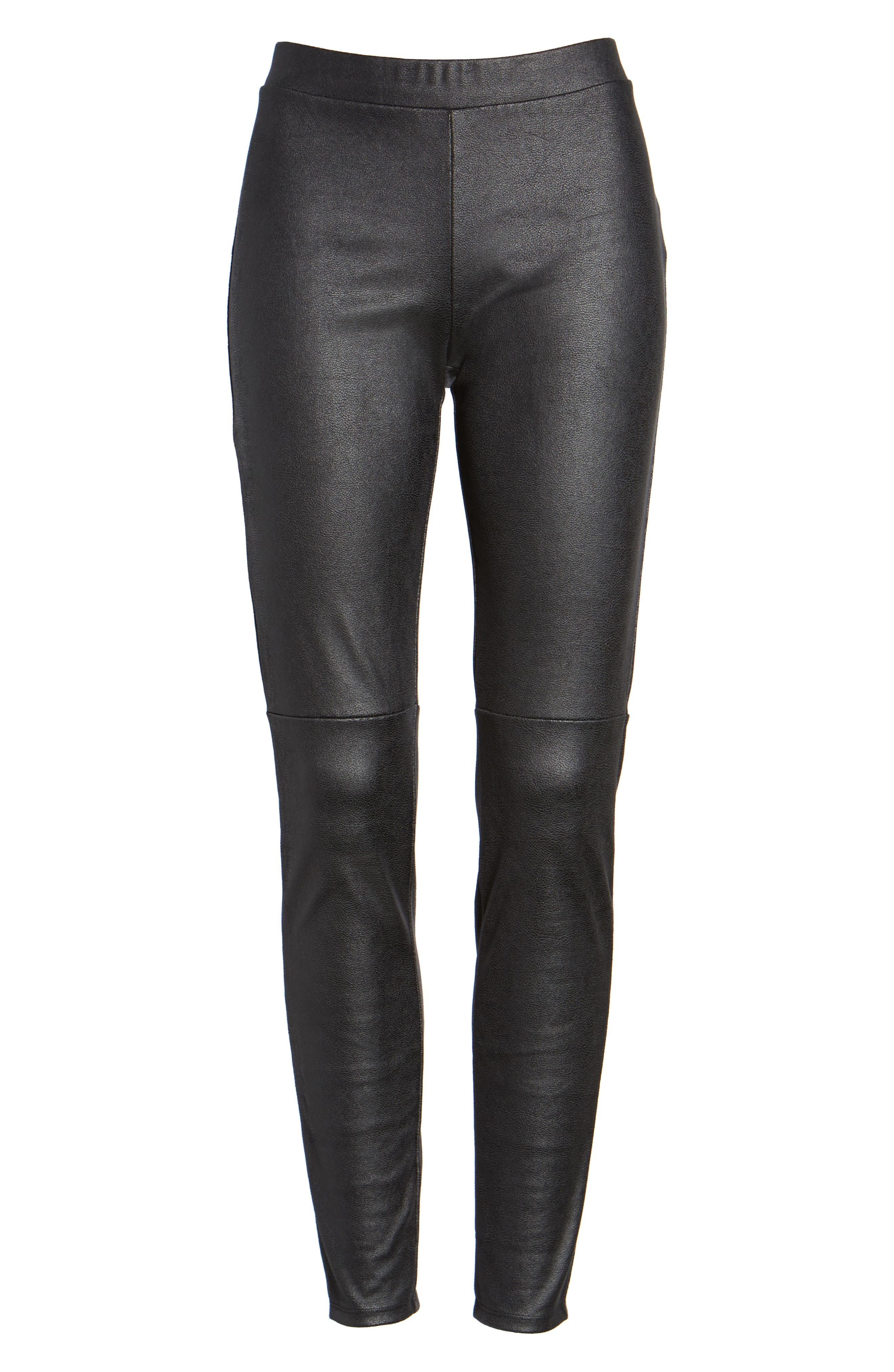 Faux Leather Leggings,                             Alternate thumbnail 6, color,                             001