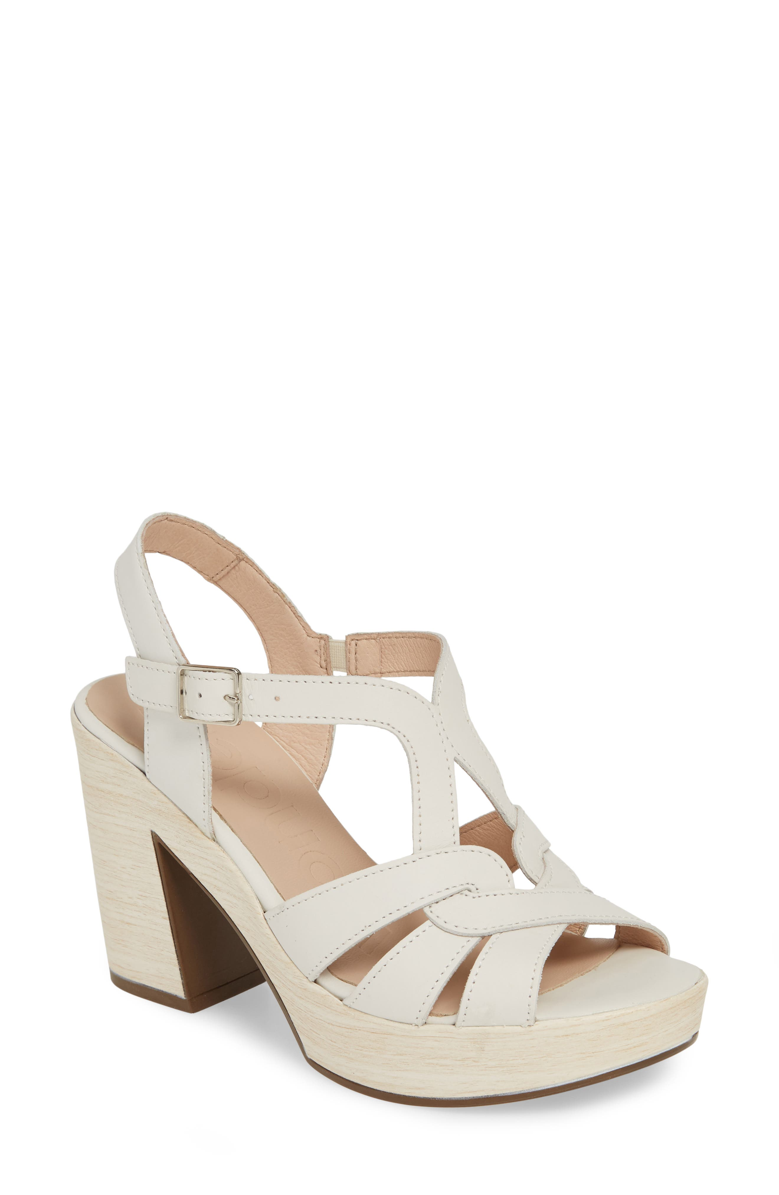 Vintage Sandals   Wedges, Espadrilles – 30s, 40s, 50s, 60s, 70s Womens Wonders Block Heel Sandal Size 9.5-10US  41EU - White $209.95 AT vintagedancer.com