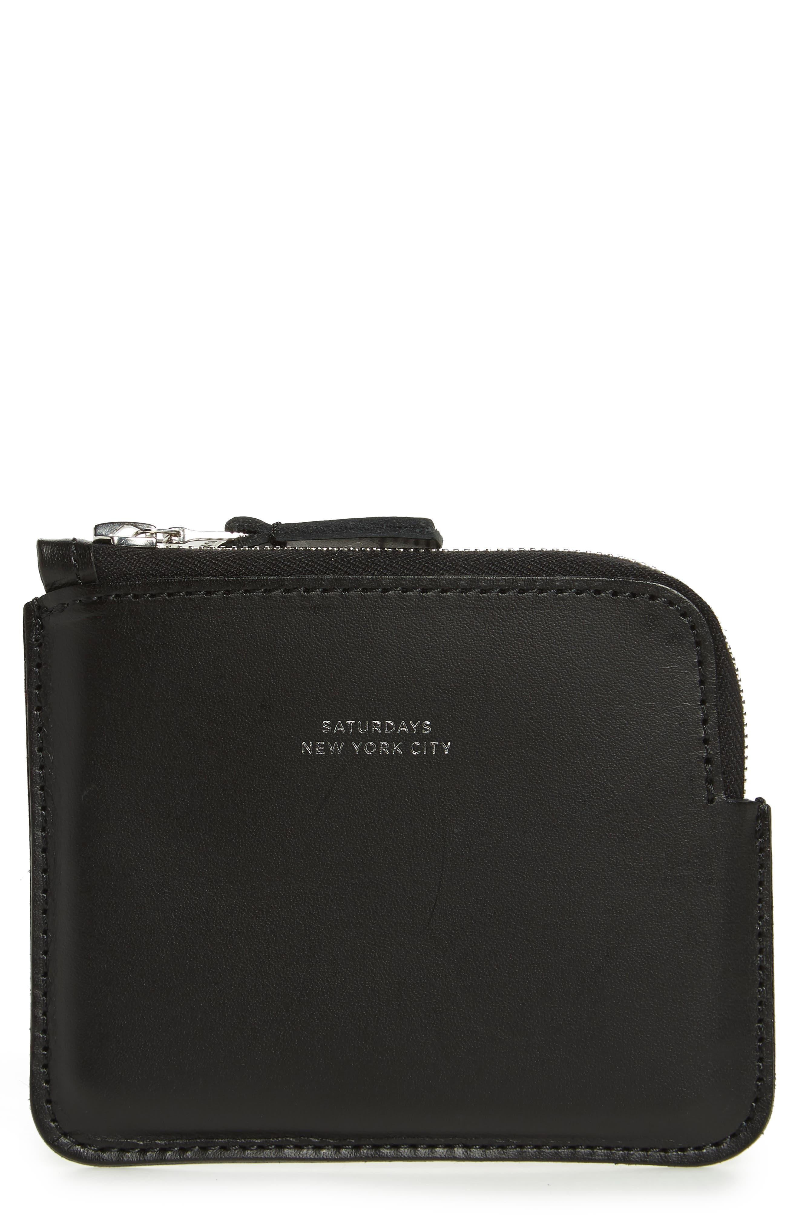 SATURDAYS NYC Leather Half Zip Wallet, Main, color, BLACK
