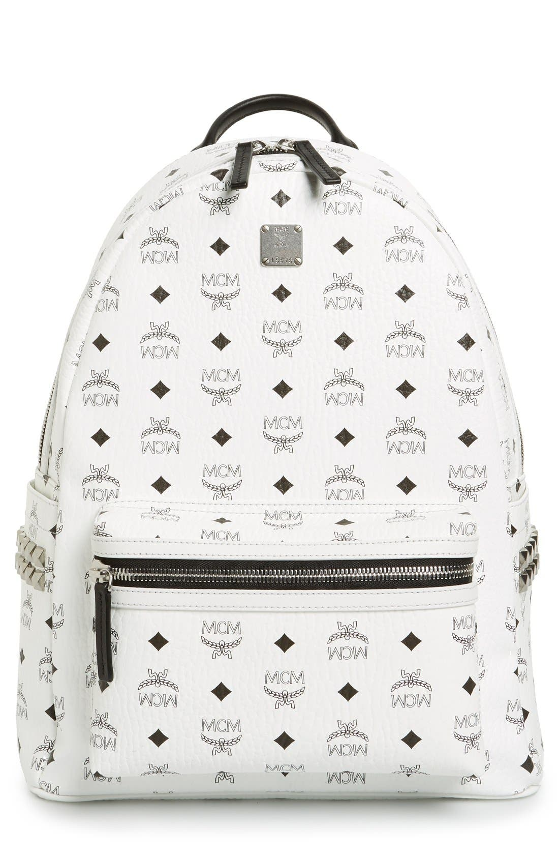 Stark Medium Studded Visetos Coated Canvas Backpack,                         Main,                         color, 100
