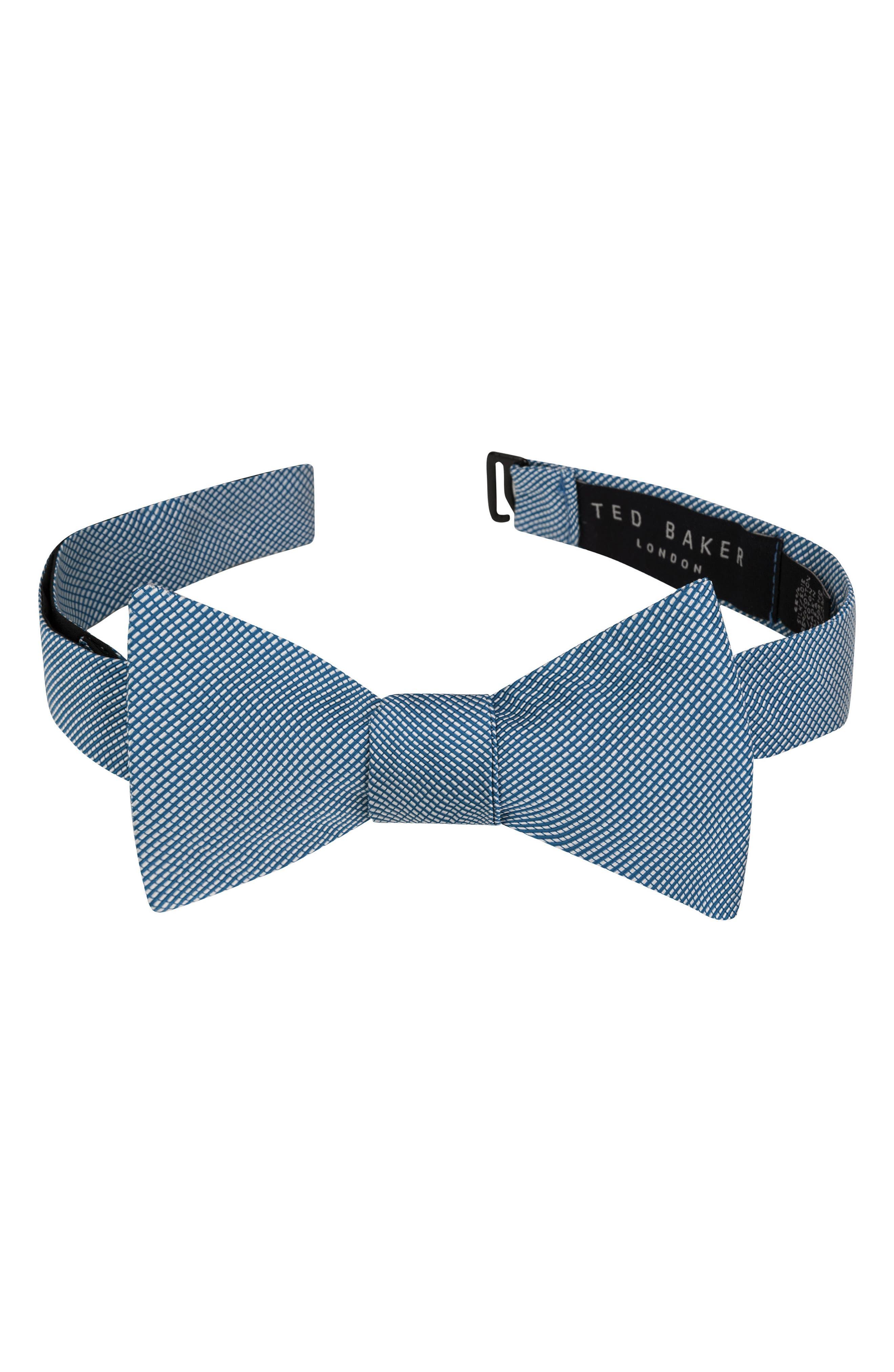 Mogador Stripe Silk & Cotton Bow Tie,                         Main,                         color, 400