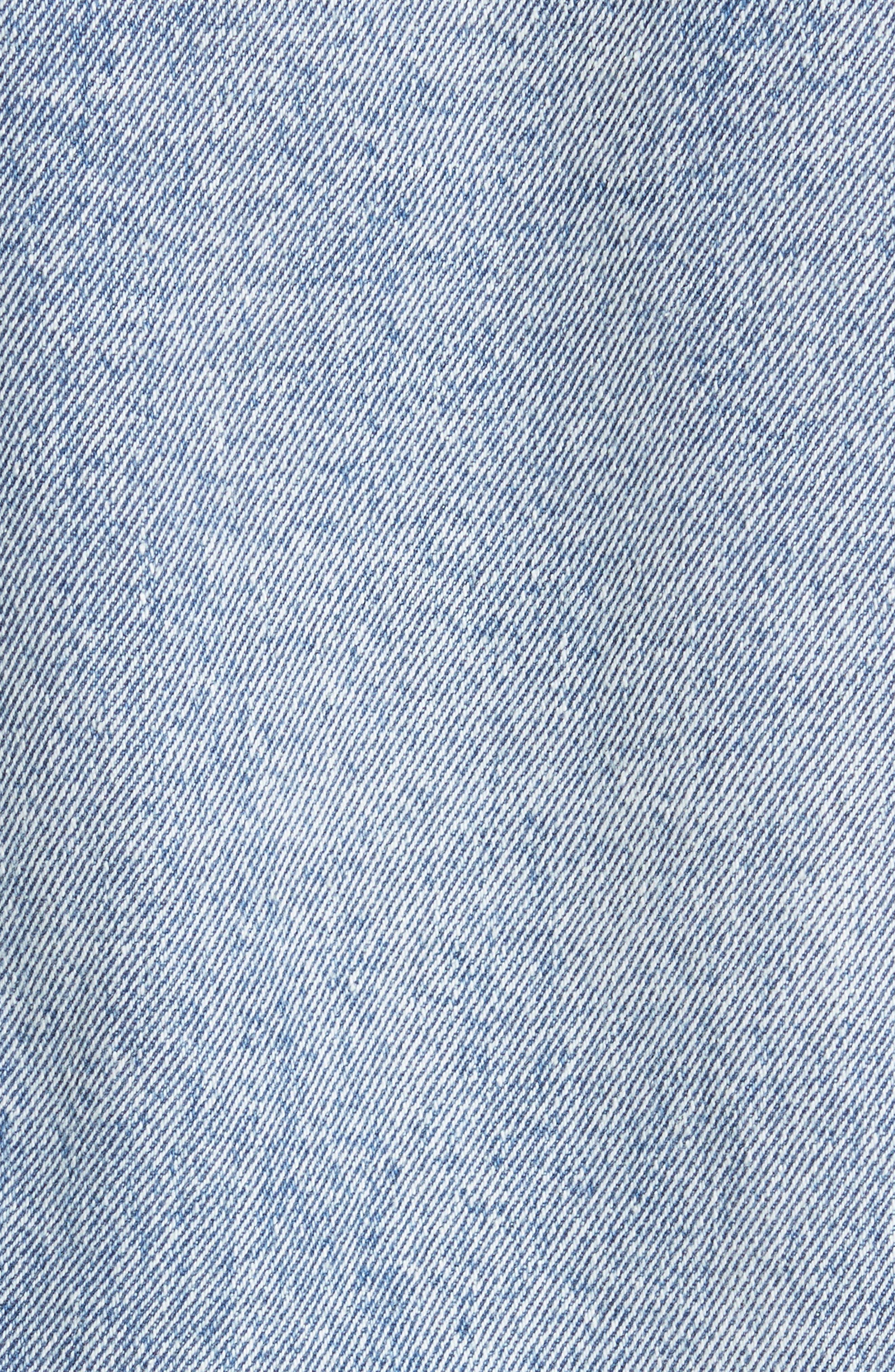 Ruffle Cuff Denim Jacket,                             Alternate thumbnail 6, color,                             401
