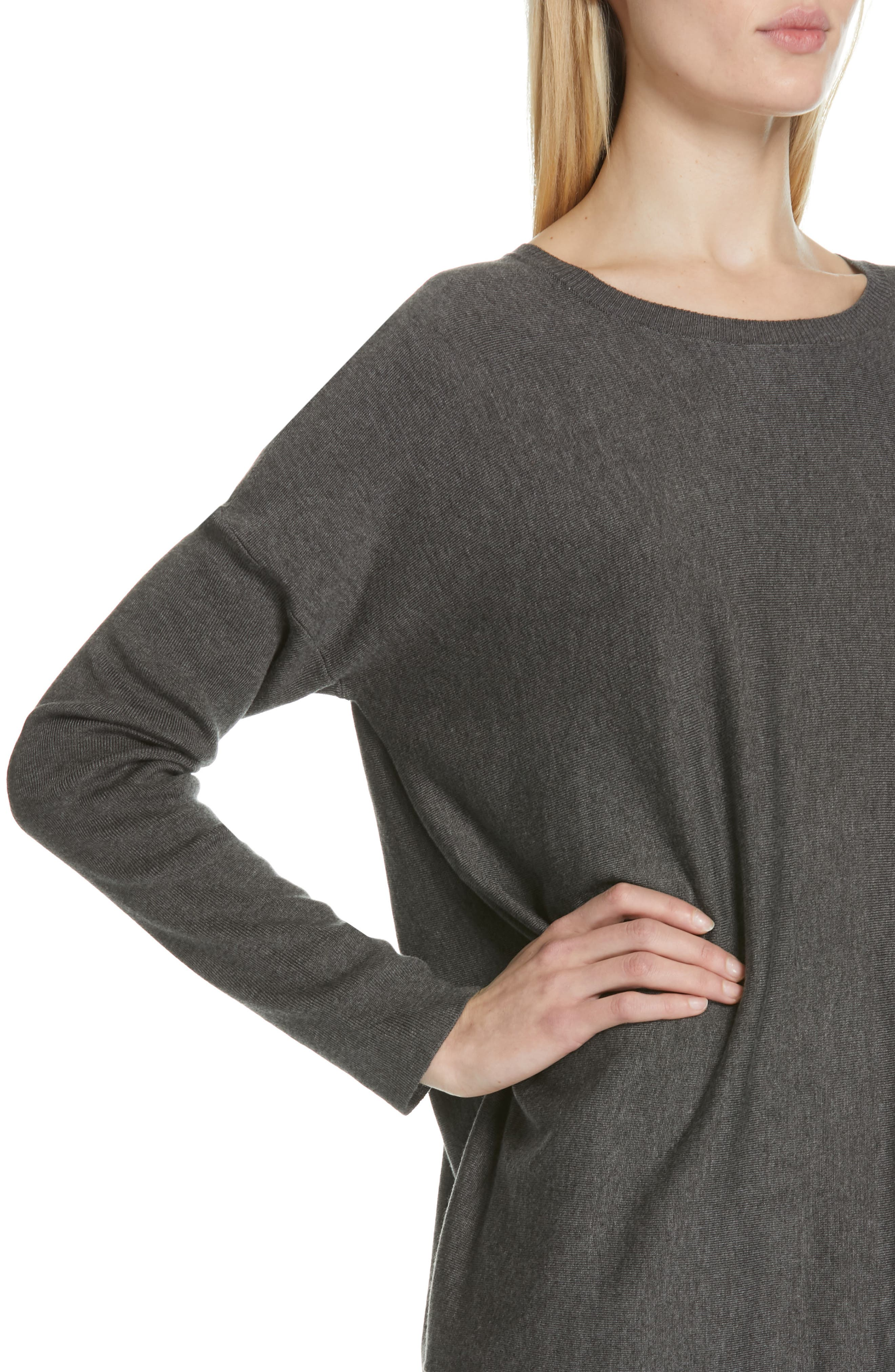 EILEEN FISHER, Tencel<sup>®</sup> Lyocell Blend Sweater, Alternate thumbnail 4, color, 030