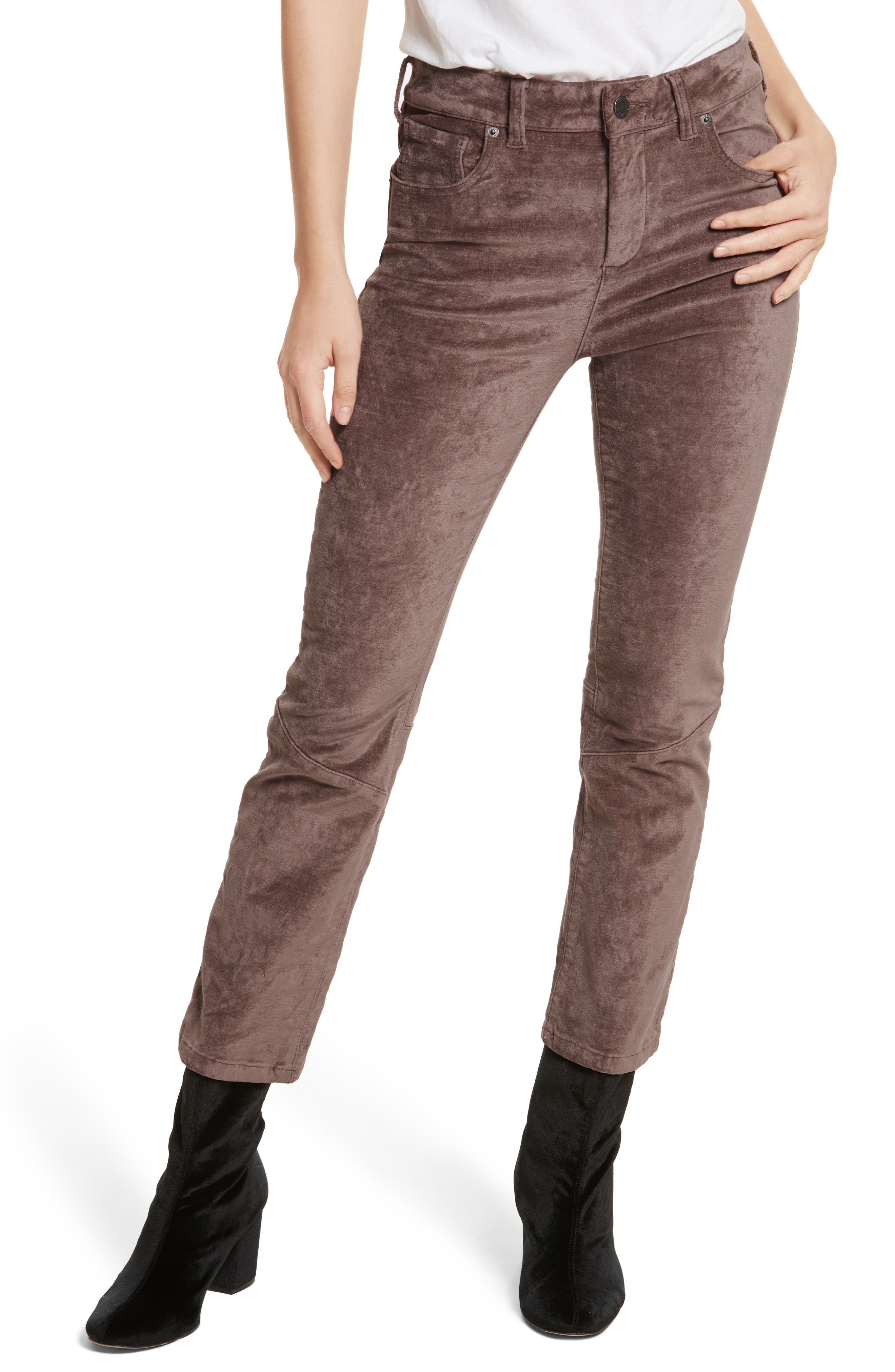 Velvet Crop Bootcut Pants, Main, color, 230