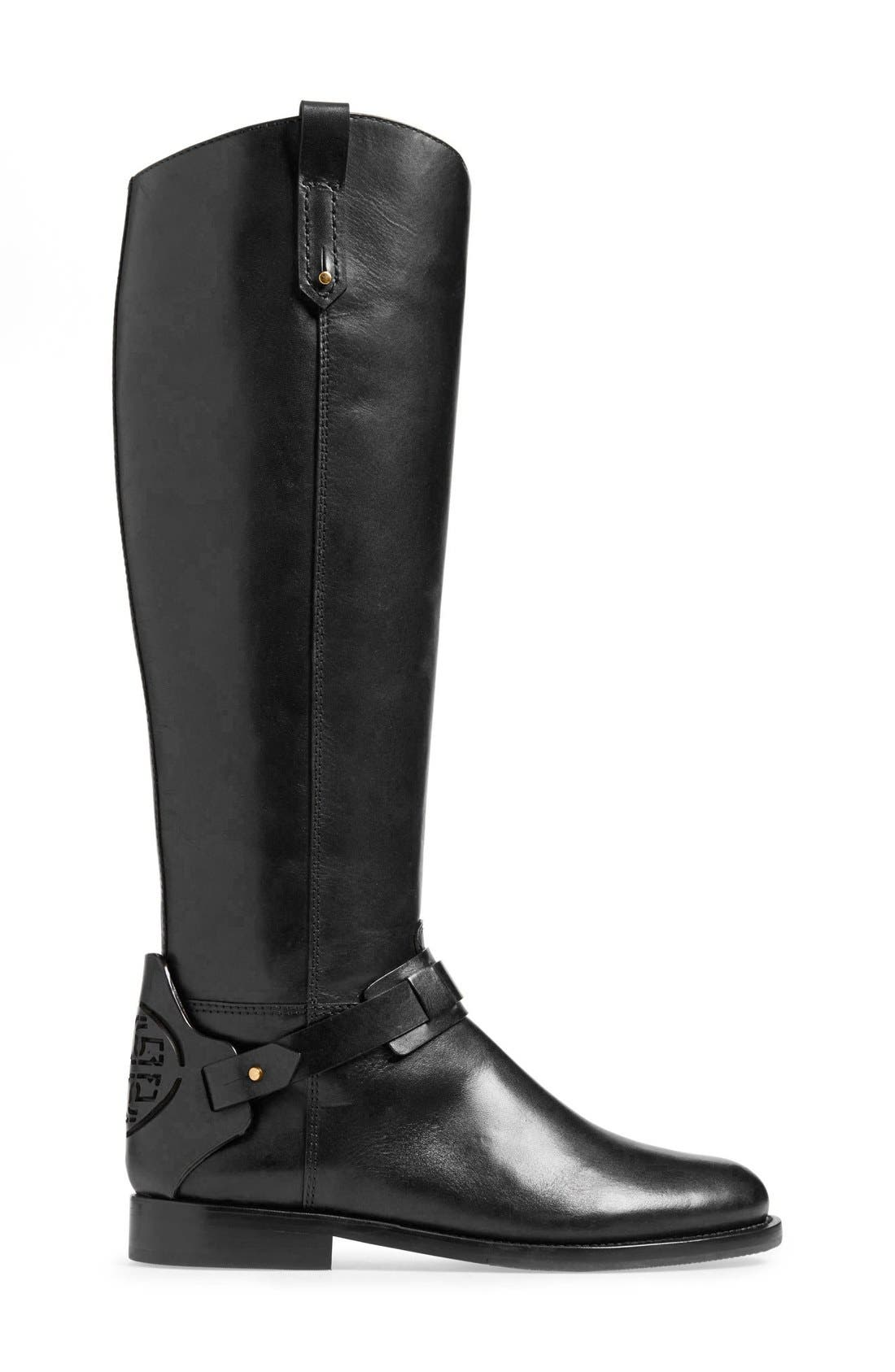 'Derby' Leather Riding Boot,                             Alternate thumbnail 2, color,                             001