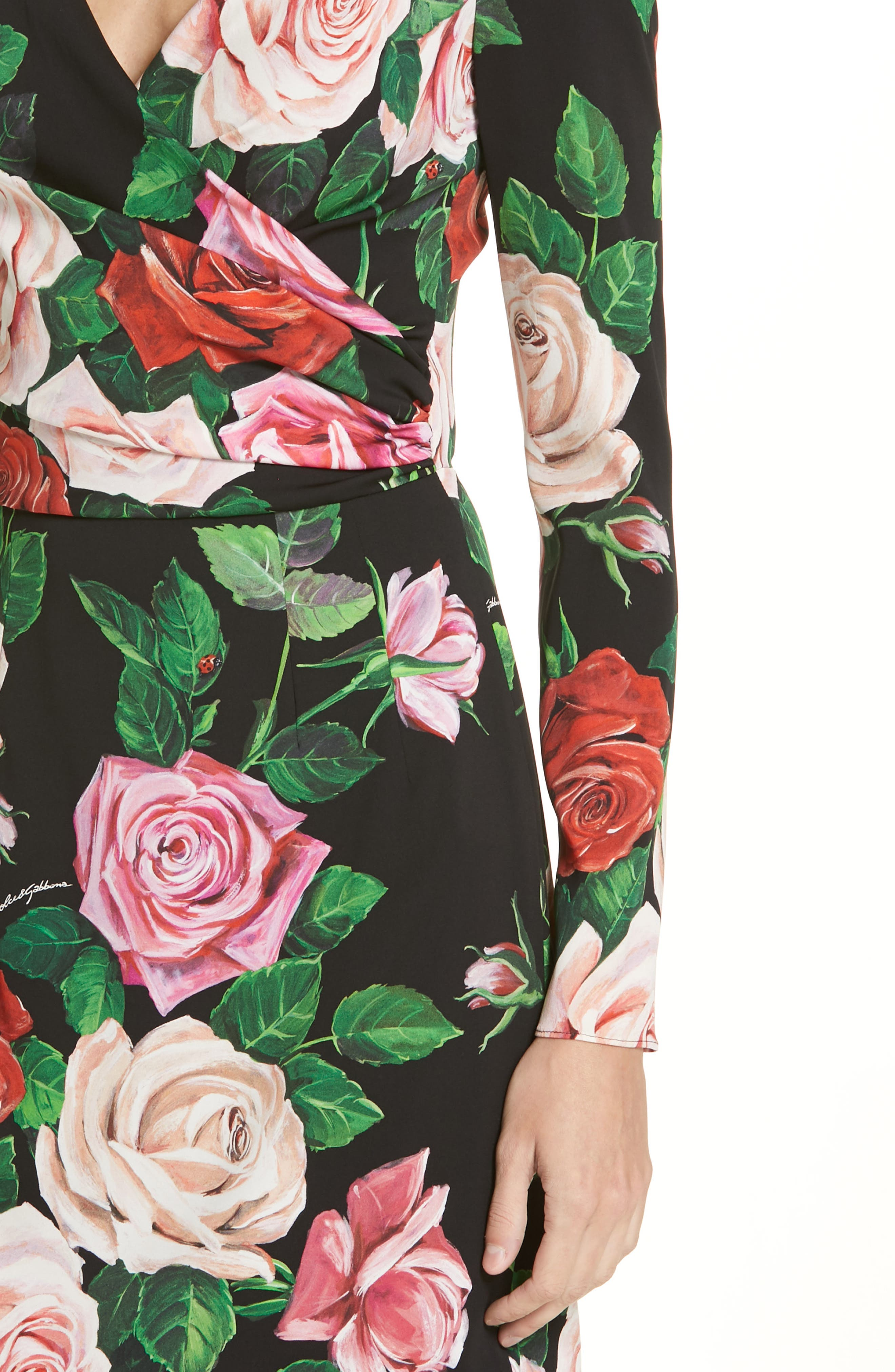 Rose Print Stretch Silk Dress,                             Alternate thumbnail 4, color,                             BLACK ROSE