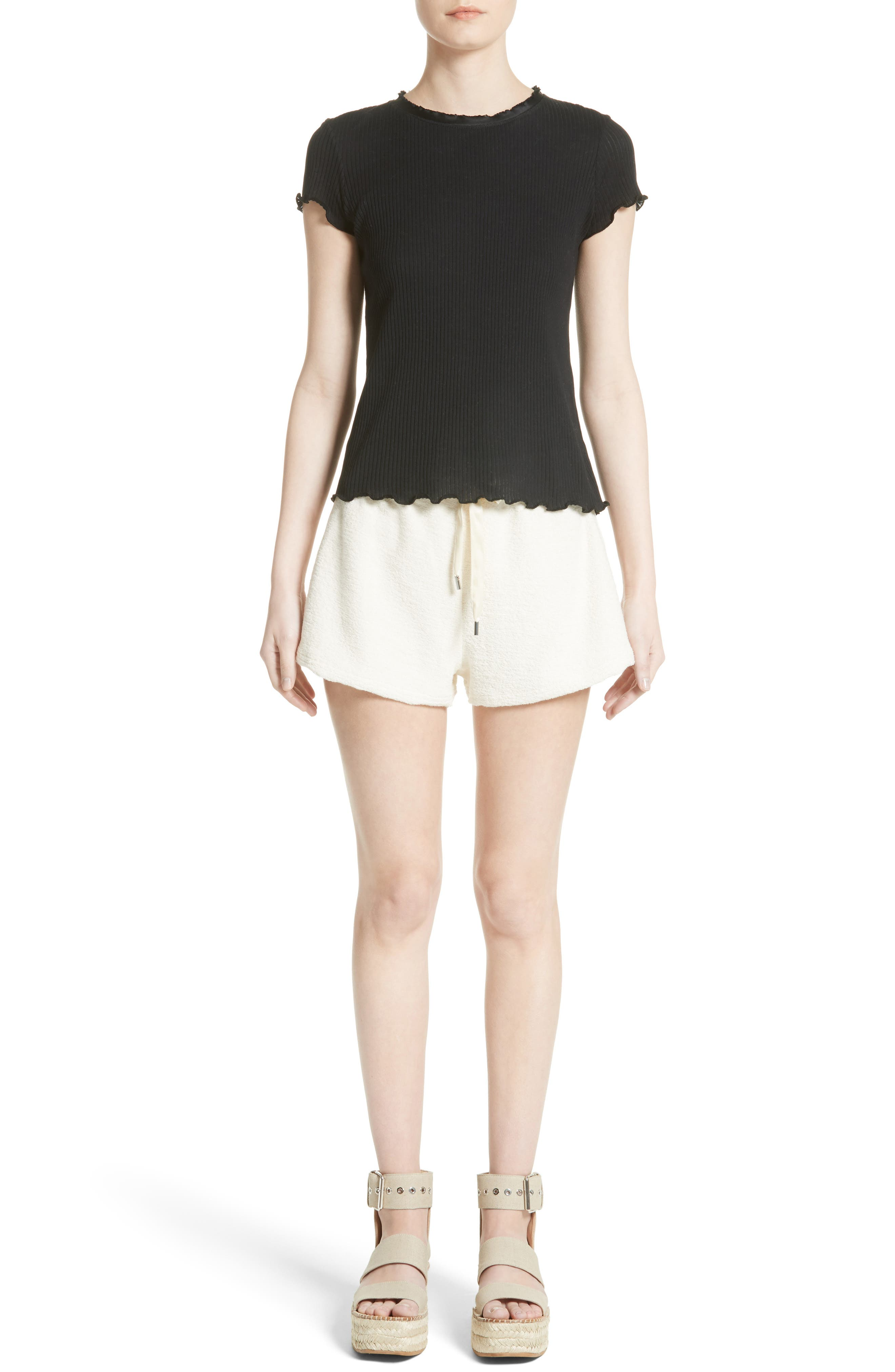 Max Silk Trim Cotton Terry Shorts,                             Alternate thumbnail 6, color,