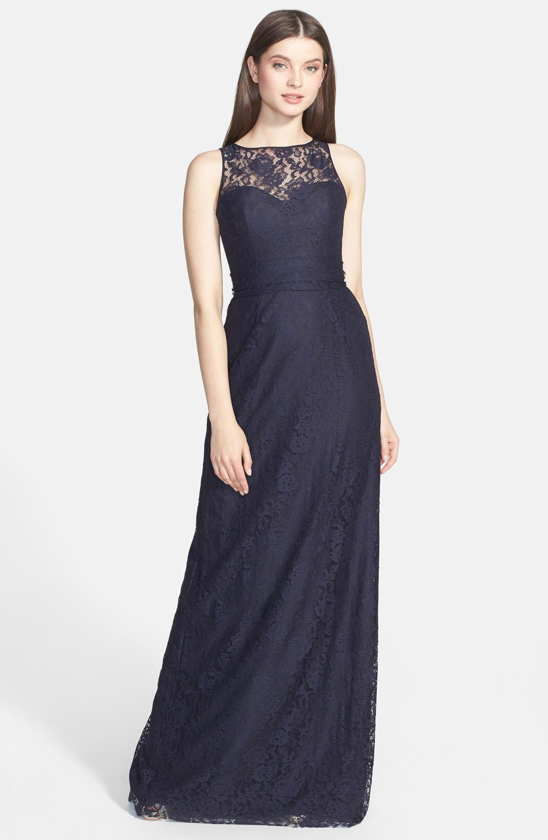 AMSALE Illusion Yoke Lace Gown in Navy