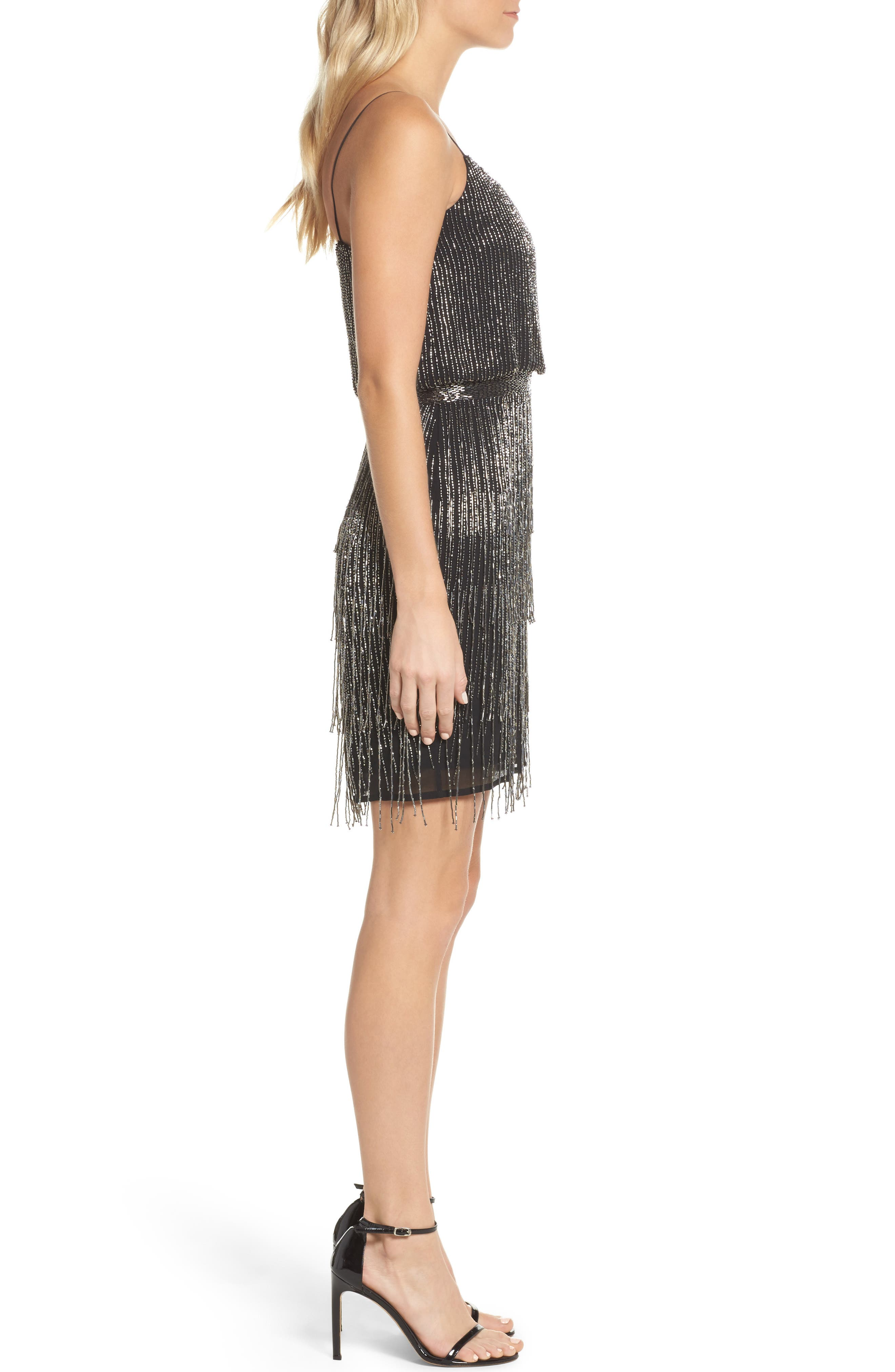 Beaded Fringe Blouson Dress,                             Alternate thumbnail 3, color,                             017