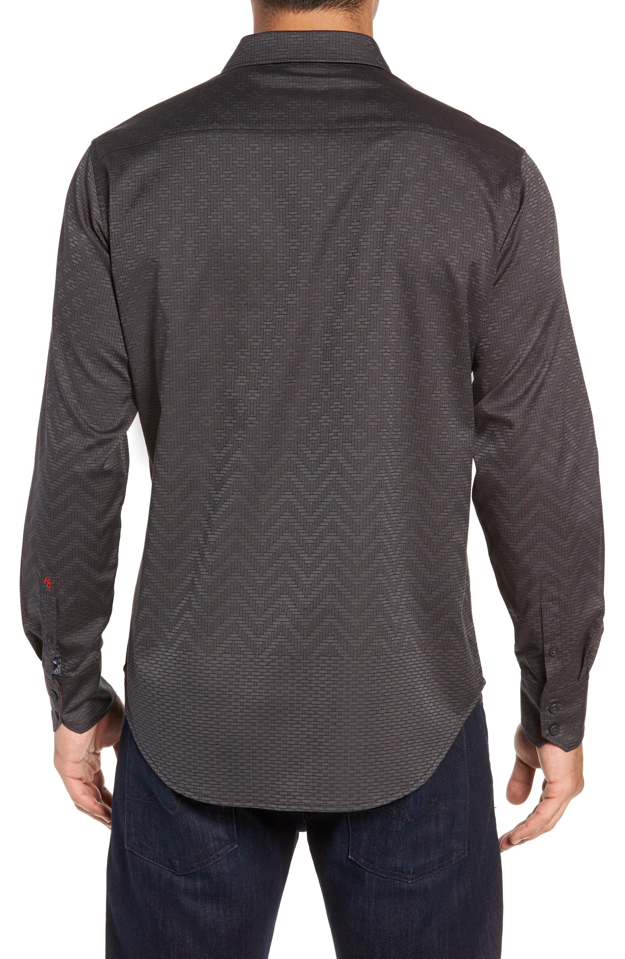 Wallace Classic Fit Sport Shirt,                             Alternate thumbnail 3, color,                             GREY