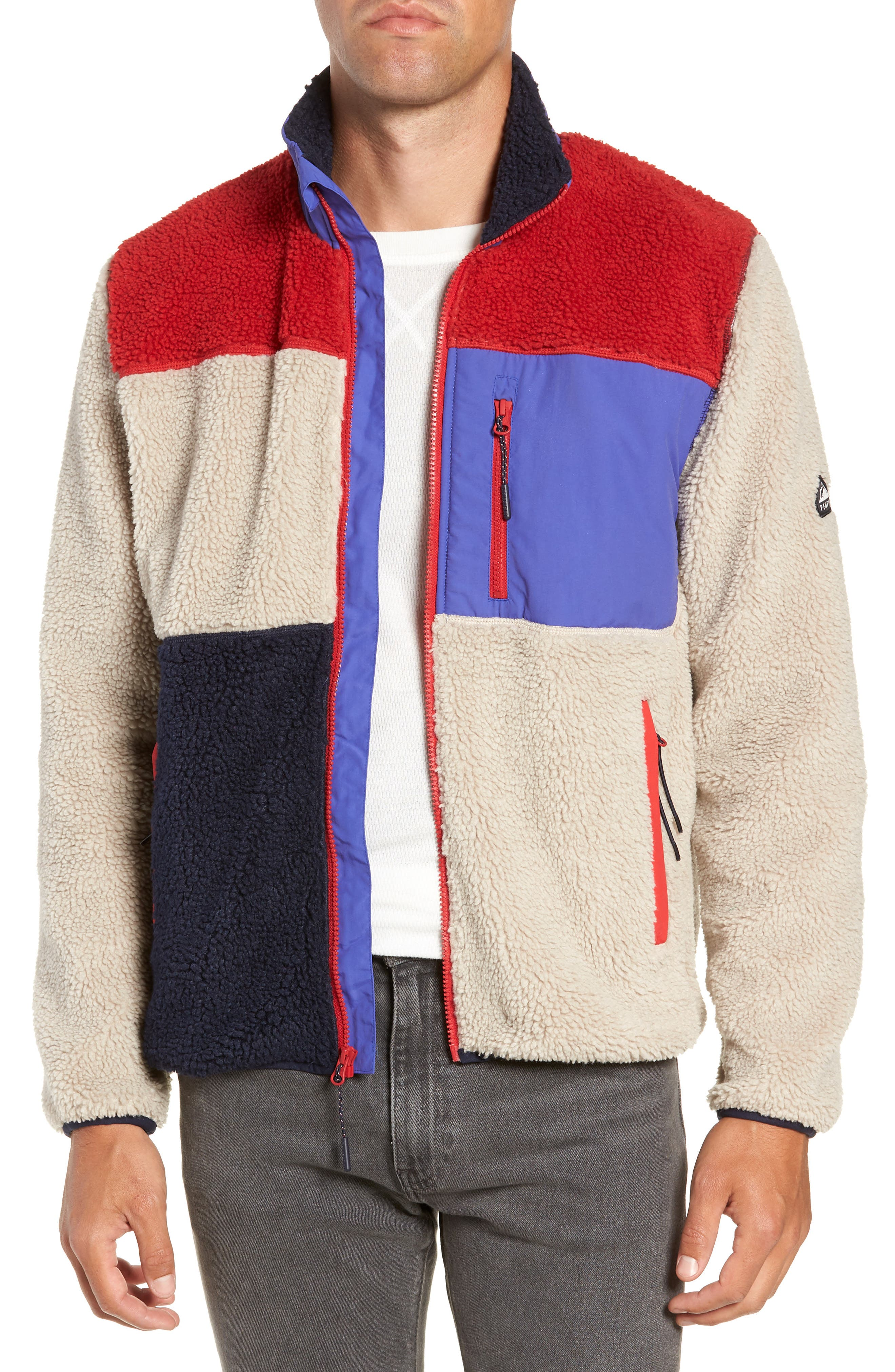 Mattawa Colorblock Fleece Zip Jacket,                             Main thumbnail 1, color,                             TAN