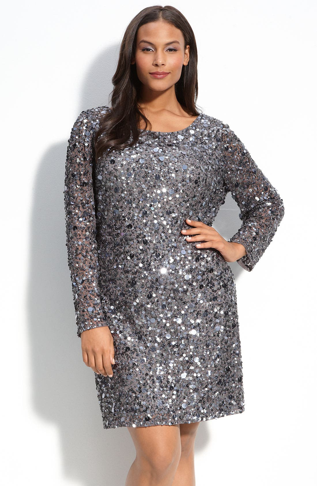 AIDAN MATTOX Sequined Mesh Sheath Dress, Main, color, 021