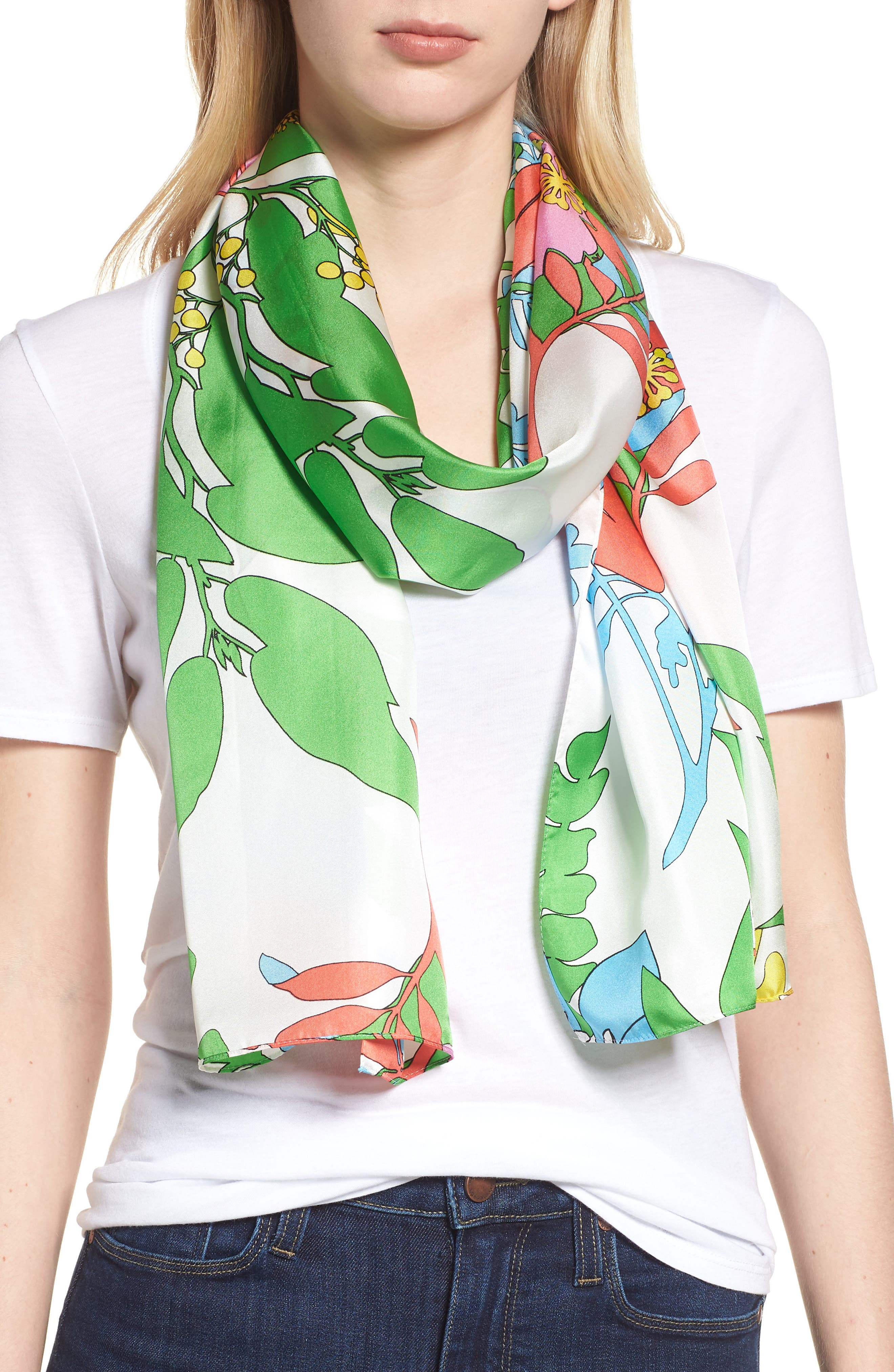 Alonnah Floral Silk Scarf,                         Main,                         color, BRIGHT WHITE