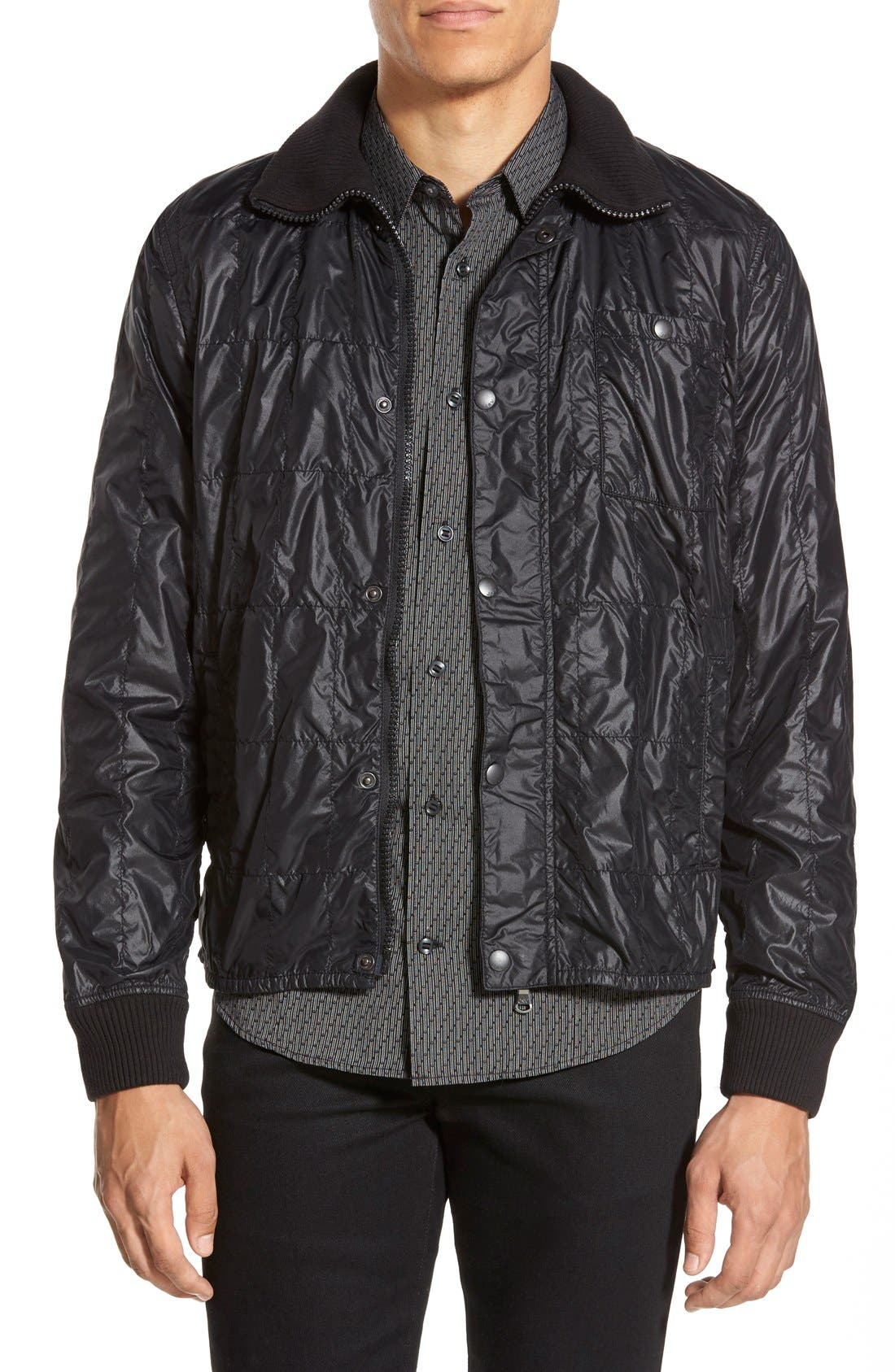 Lightweight Quilted Bomber Jacket,                             Main thumbnail 1, color,                             001