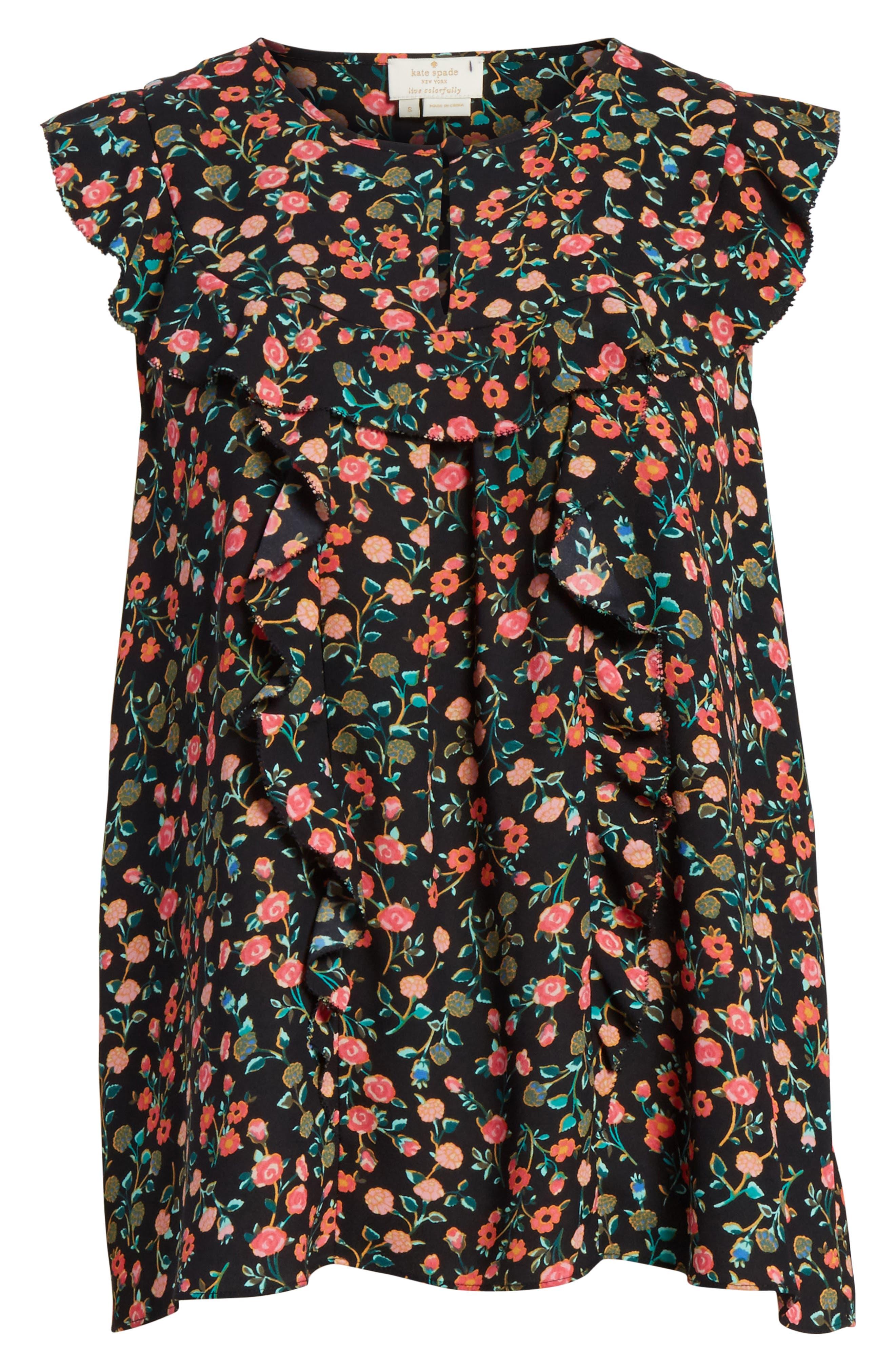 mini bloom ruffled shell,                             Alternate thumbnail 6, color,                             001