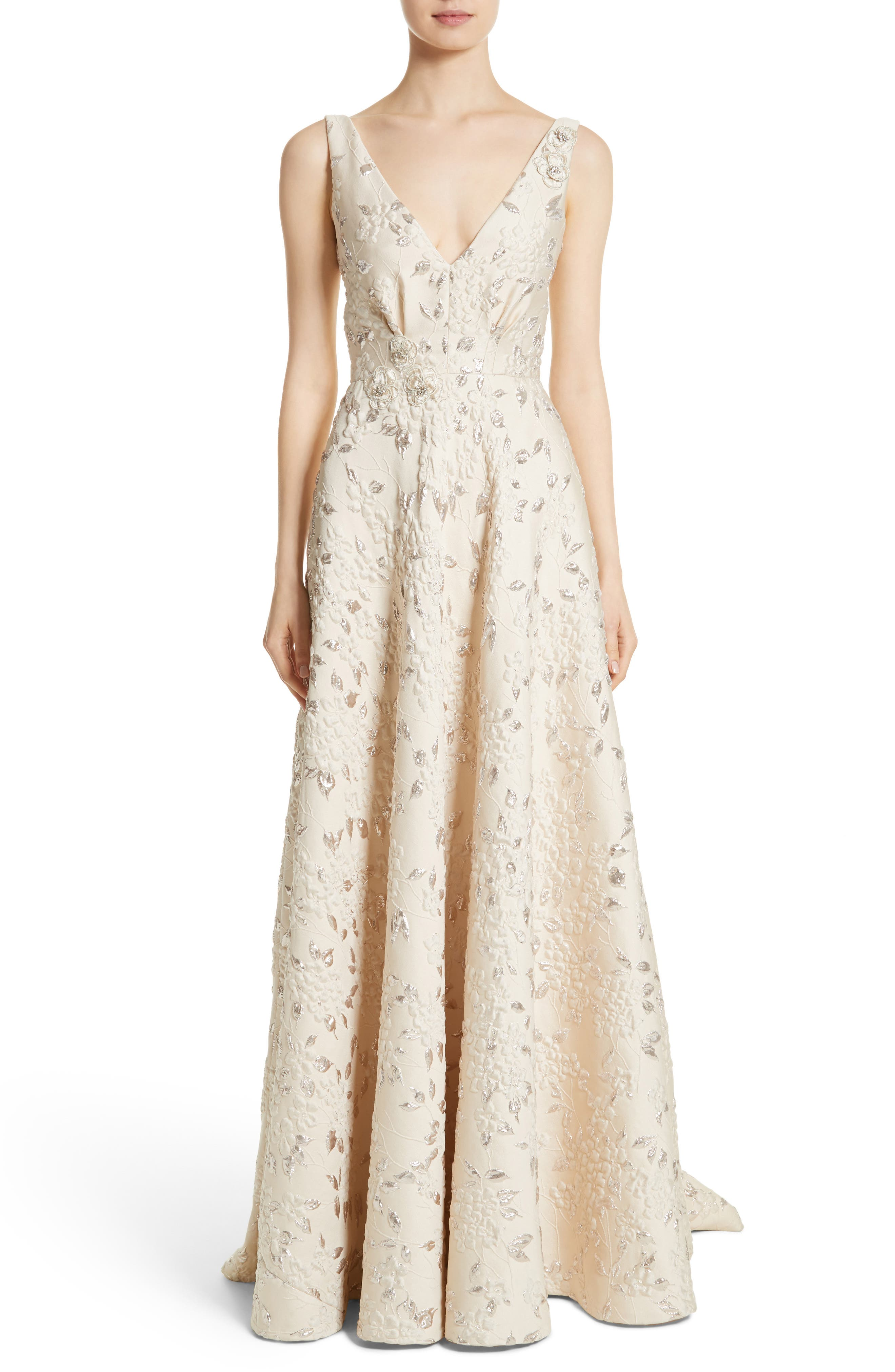 Carmen Marc Valvo Couture Reembroidered Cloque Gown, Ivory