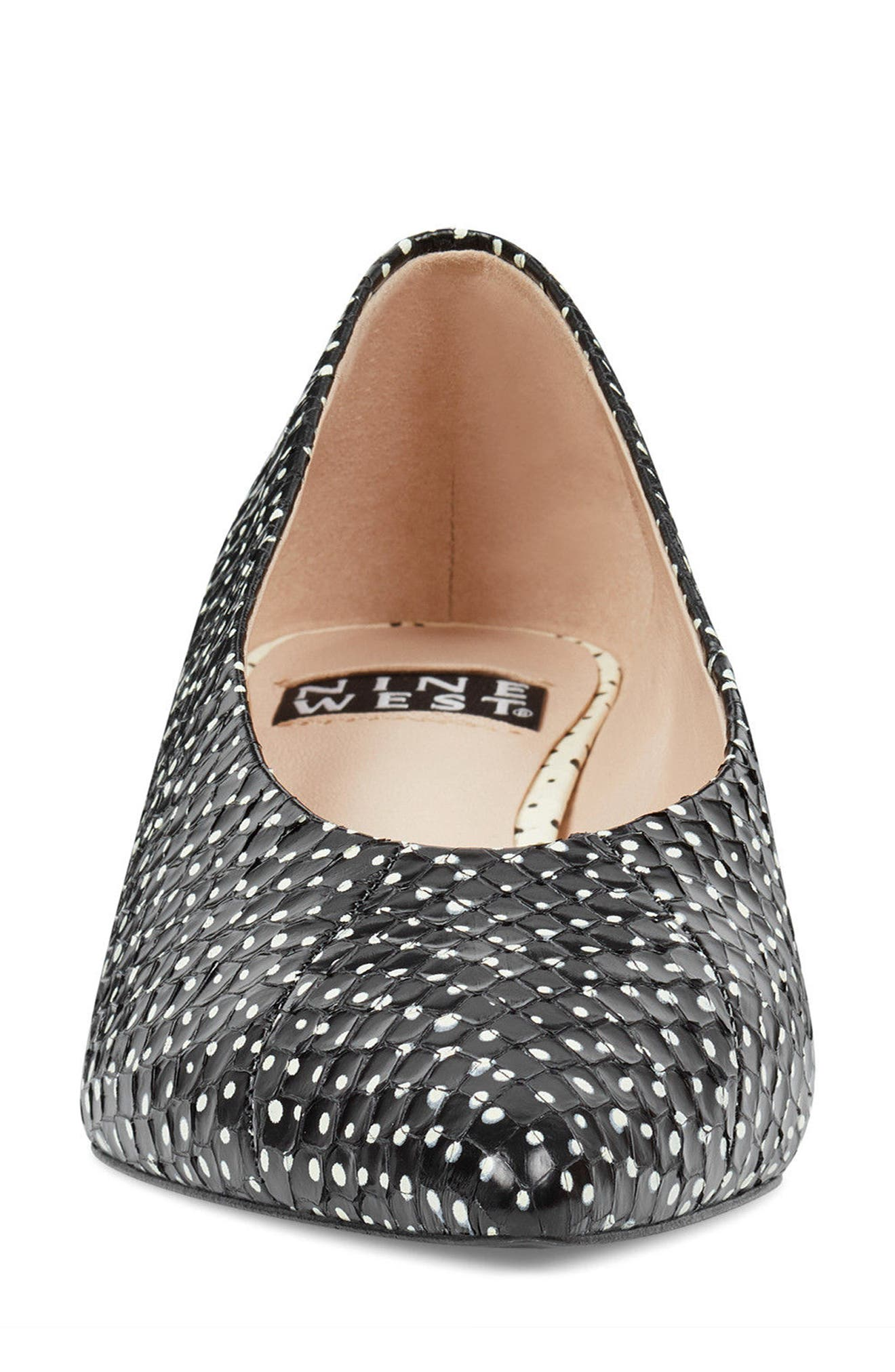 Kendra - 40th Anniversary Capsule Collection Pump,                             Alternate thumbnail 4, color,                             BLACK/ OFF WHITE PRINT LEATHER