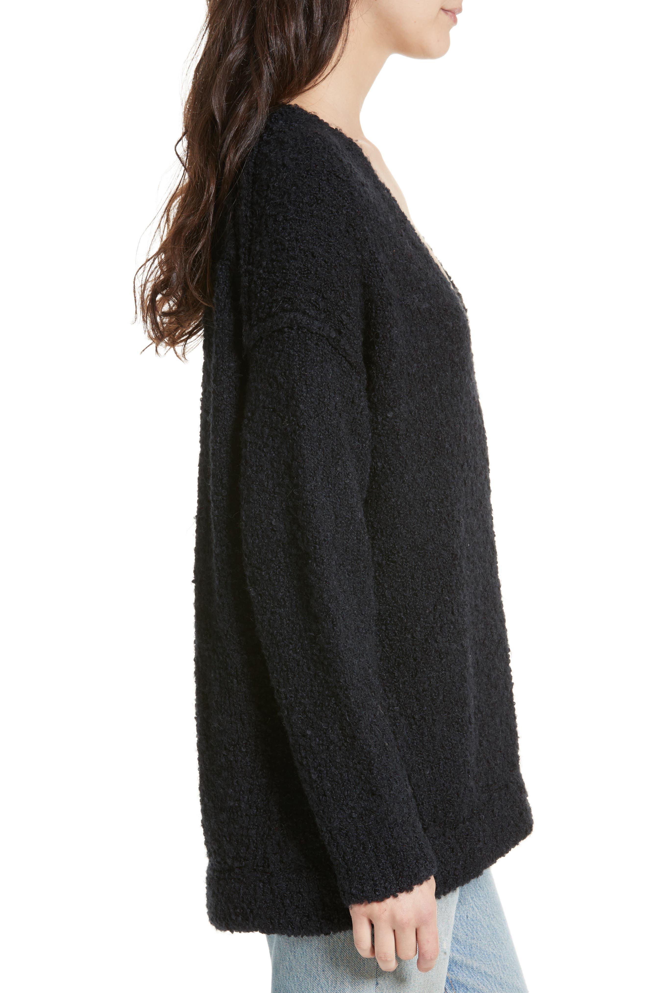 Lofty V-Neck Sweater,                             Alternate thumbnail 3, color,                             001