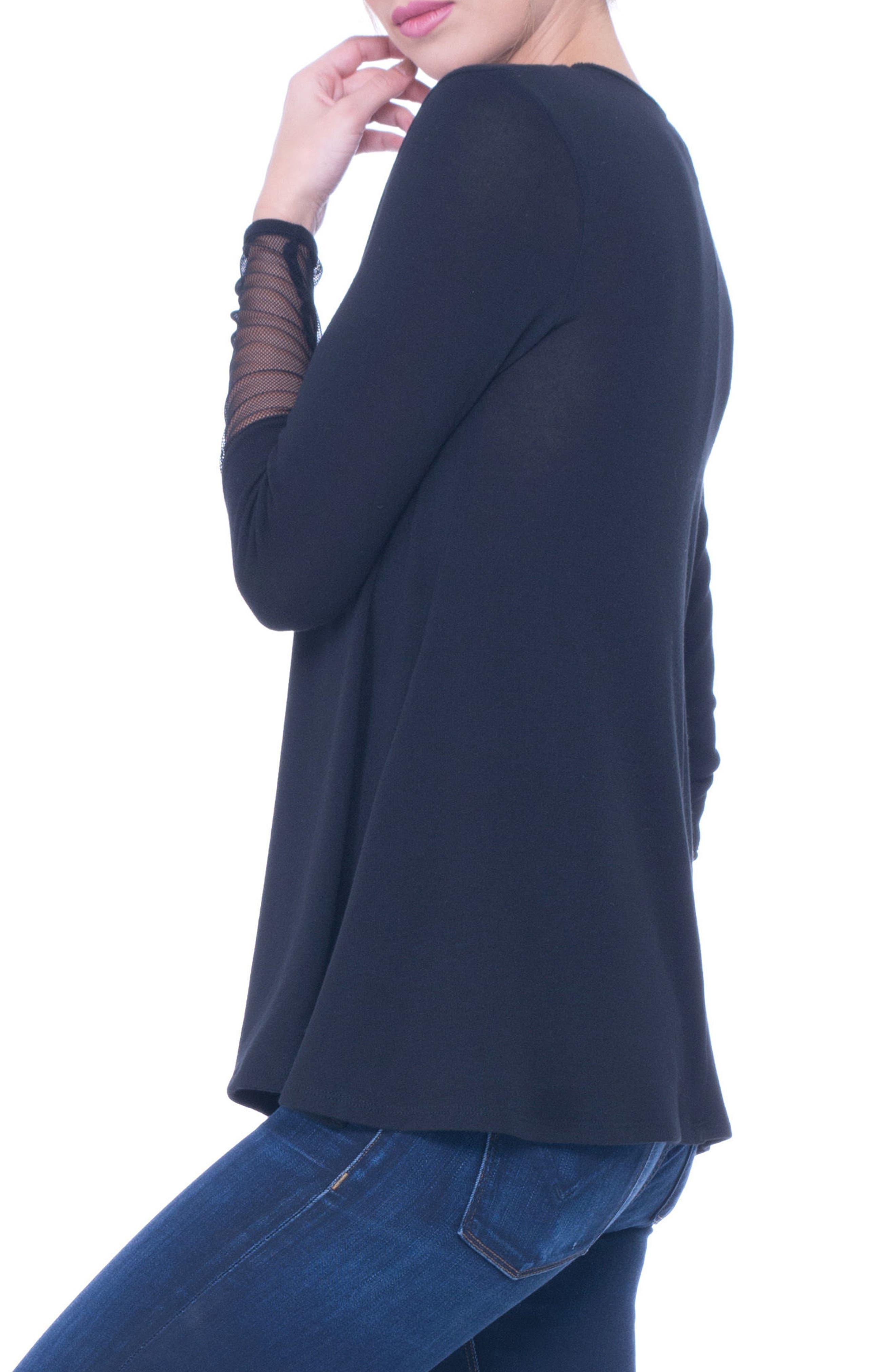 Kassie Mesh Trim Maternity Sweater,                             Alternate thumbnail 3, color,                             001