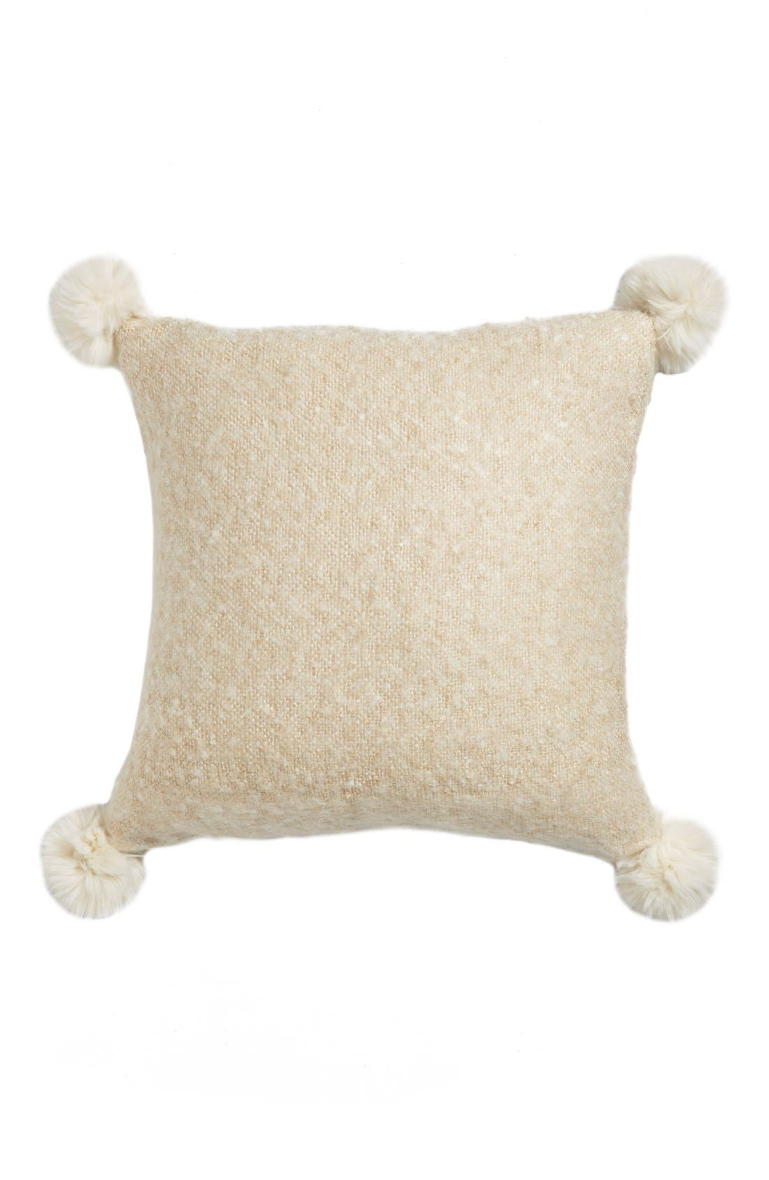 Brushed Accent Pillow with Pompoms,                             Main thumbnail 4, color,