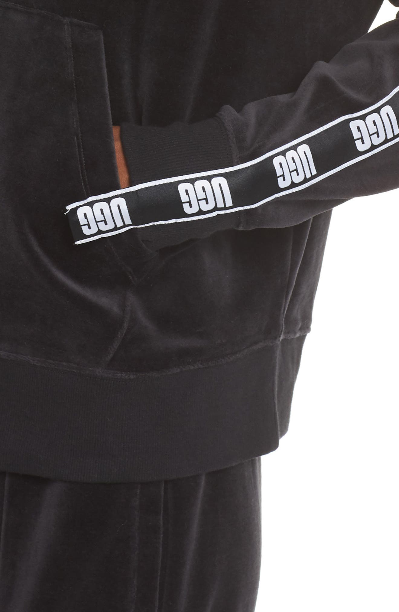 UGG<SUP>®</SUP>,                             Iris Track Jacket,                             Alternate thumbnail 4, color,                             001