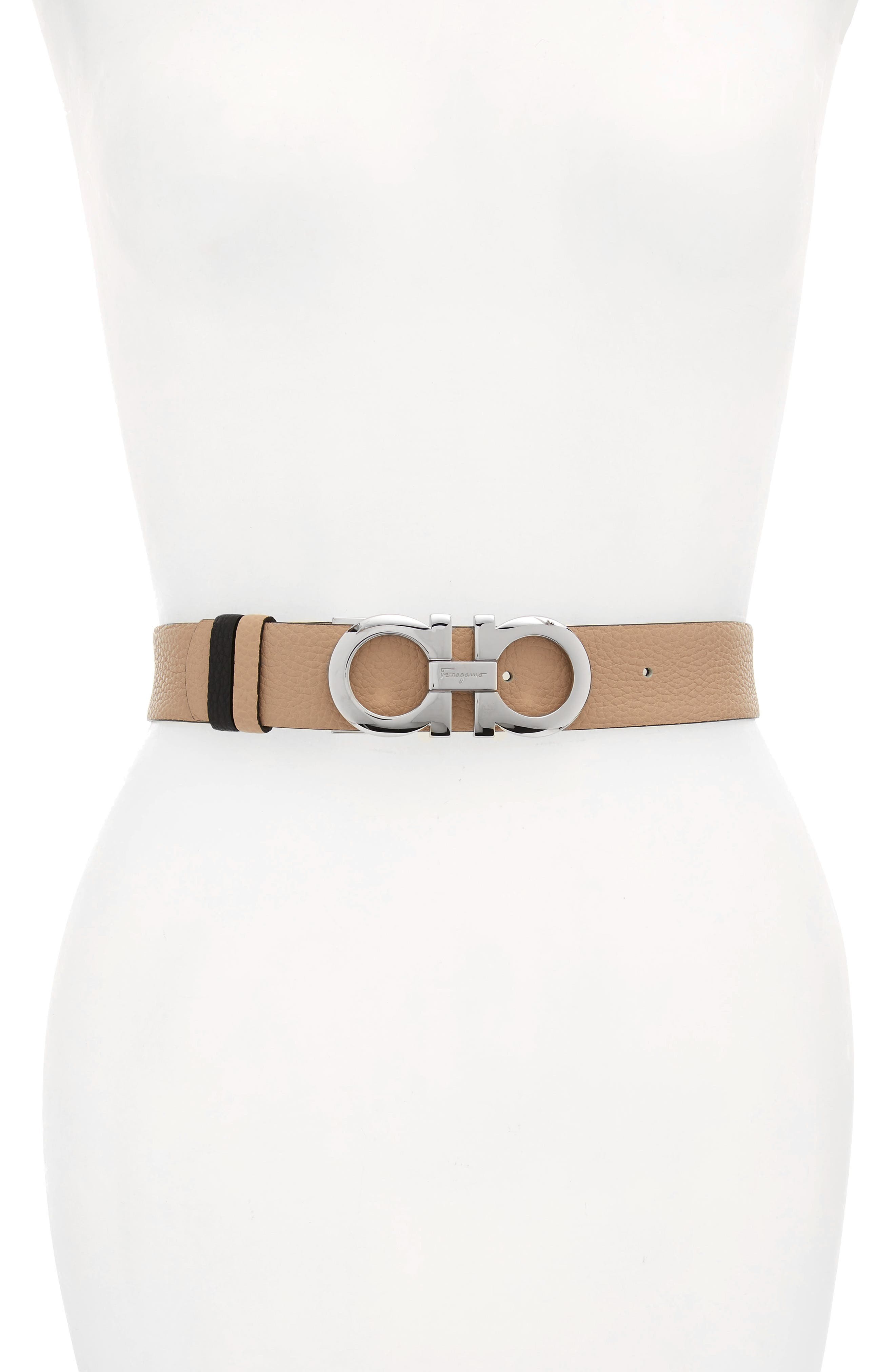 Salvatore Ferragamo Reversible Gancini Calfskin Leather Belt, New Bisque