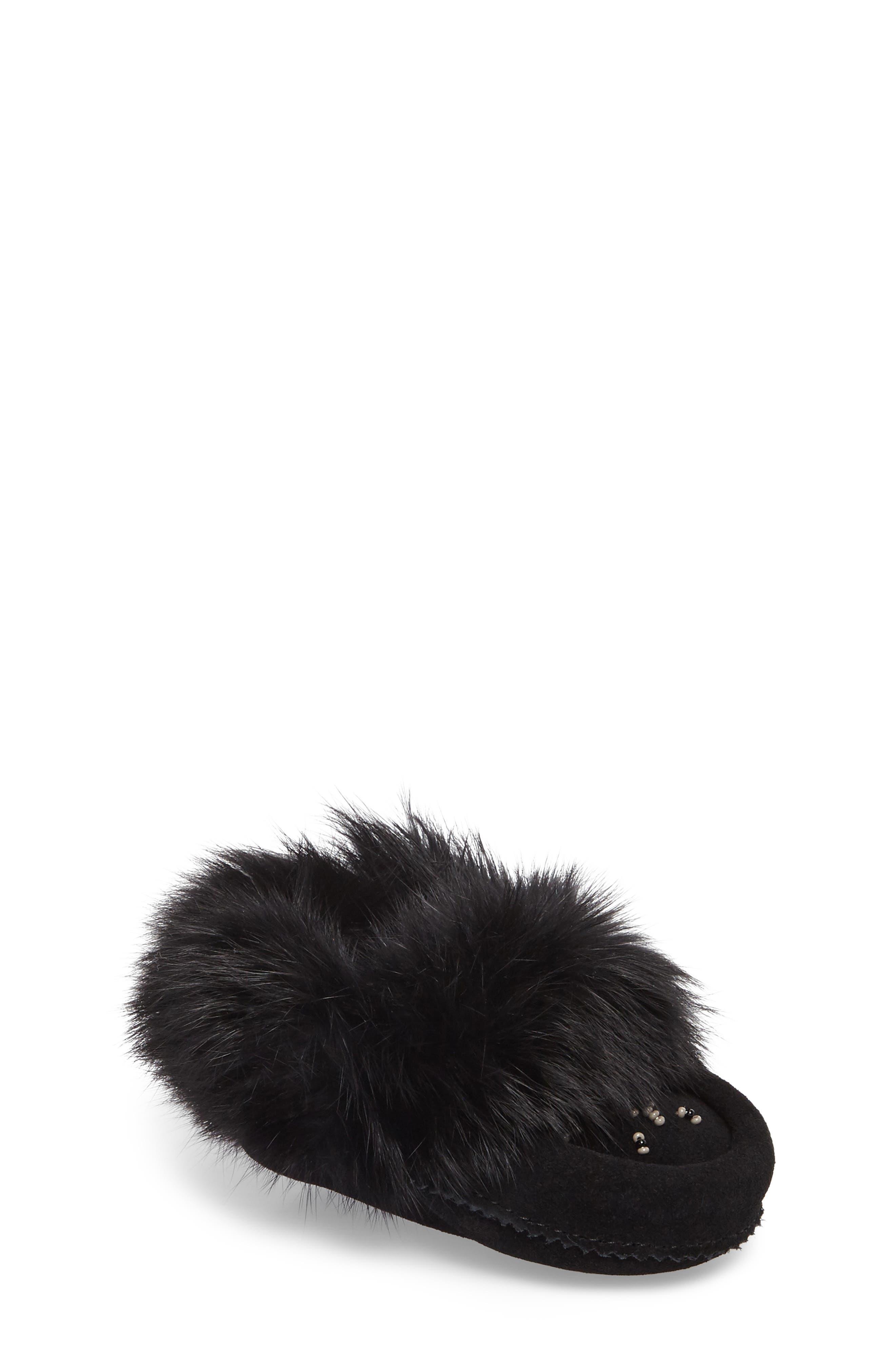 Genuine Rabbit Fur Moccasin,                             Main thumbnail 2, color,